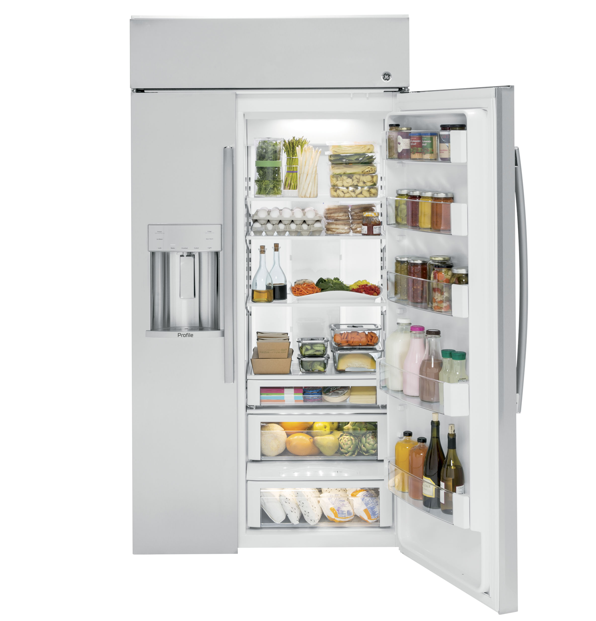 """Profile GE Profile™ Series 48"""" Built-In Side-by-Side Refrigerator with Dispenser"""