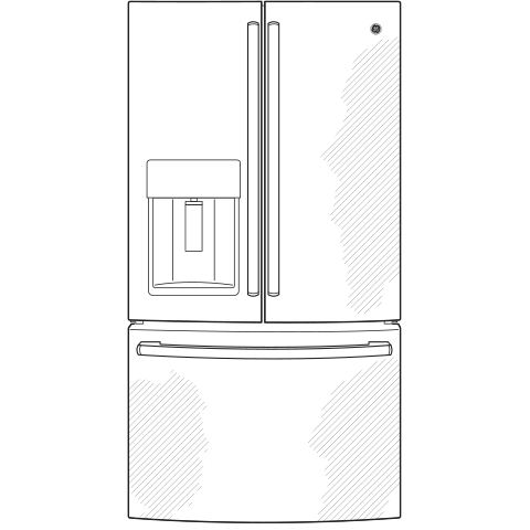 Model: GFD28GMLES | GE GE® 27.7 Cu. Ft. French-Door Refrigerator with Door In Door