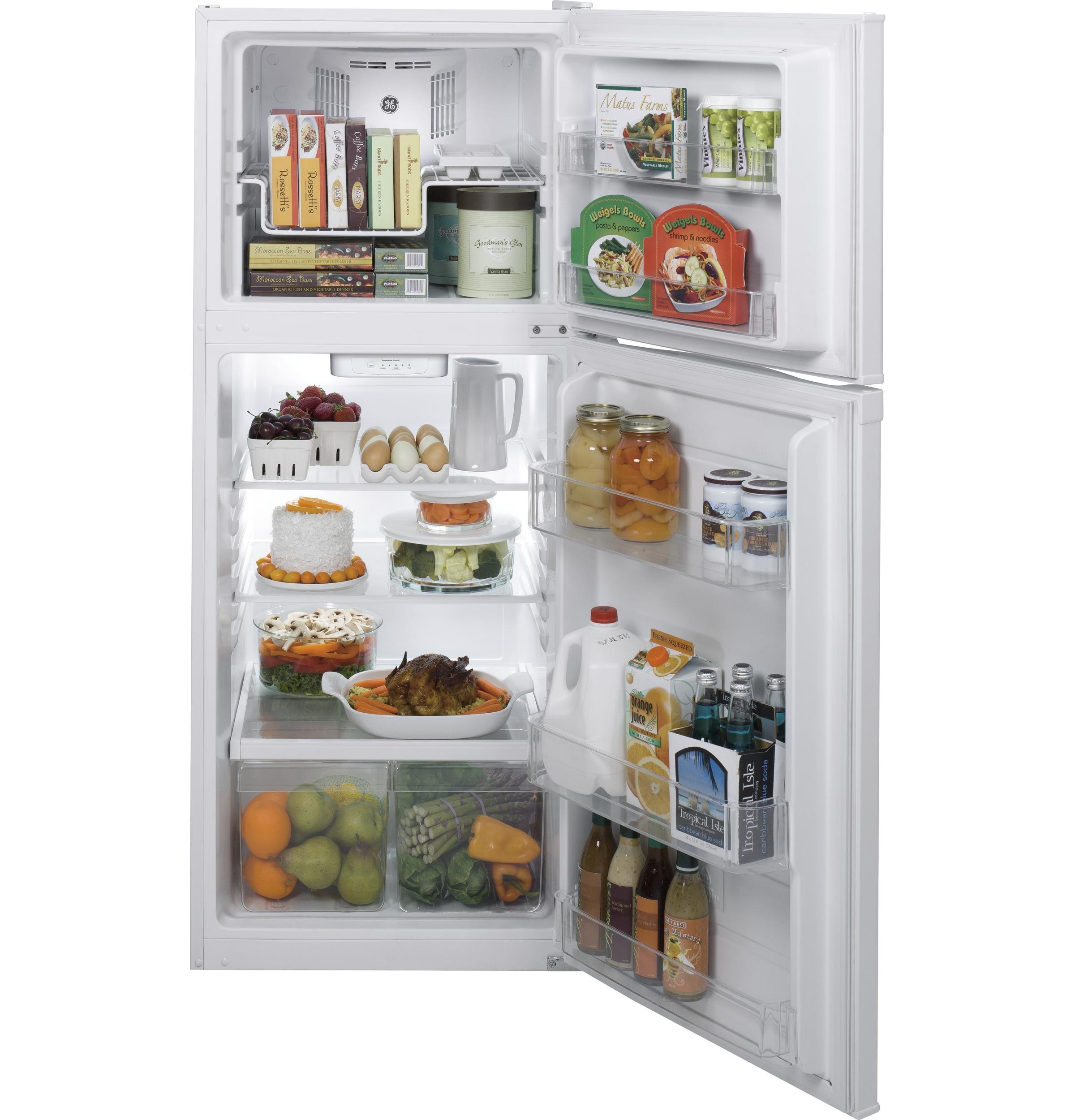 Model: GPE12FGKWW | GE GE® ENERGY STAR® 11.6 cu. ft. Top-Freezer Refrigerator