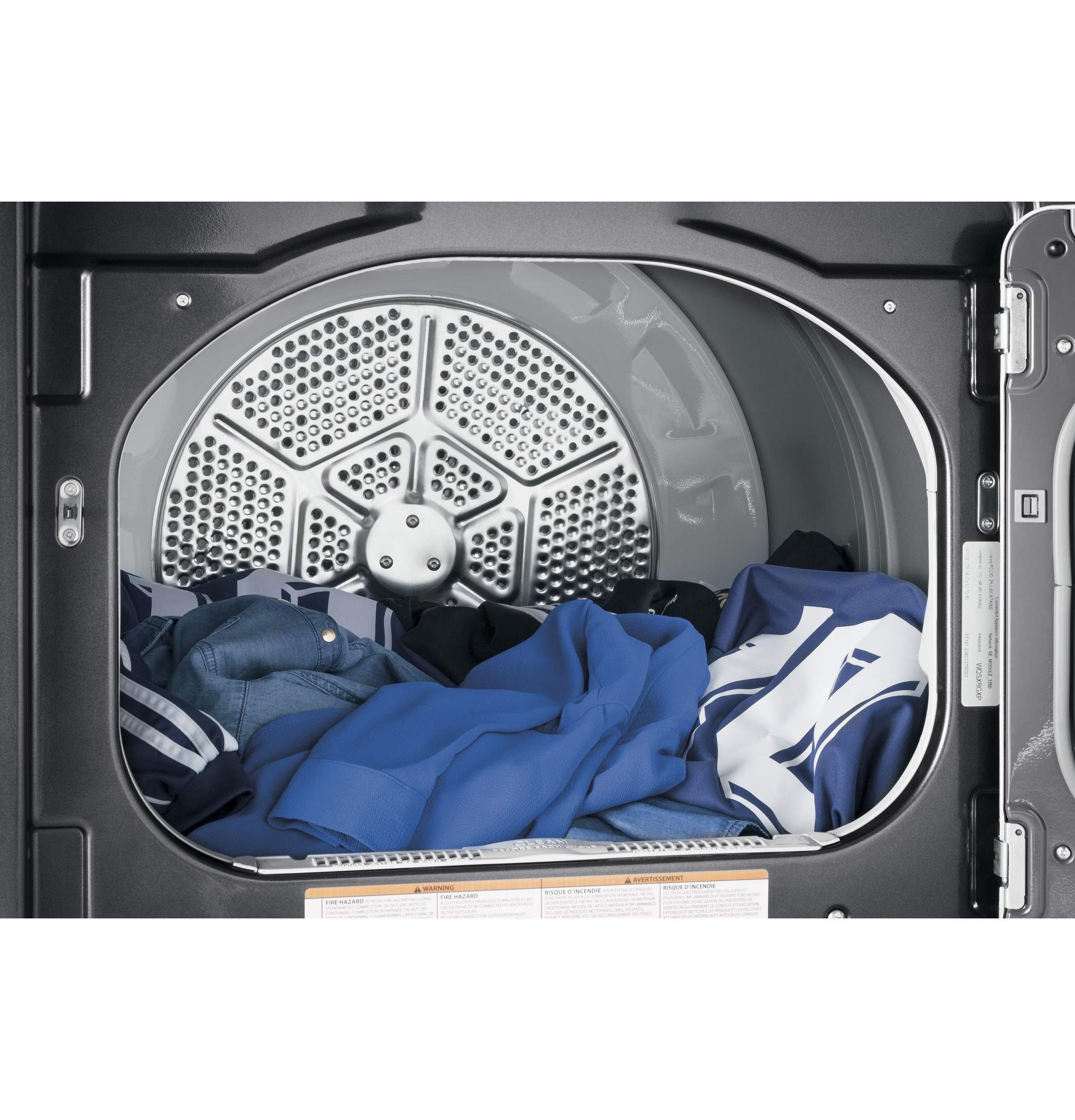 Model: GTD75ECPLDG | GE® 7.4 cu. ft. Capacity aluminized alloy drum Electric Dryer with HE Sensor Dry