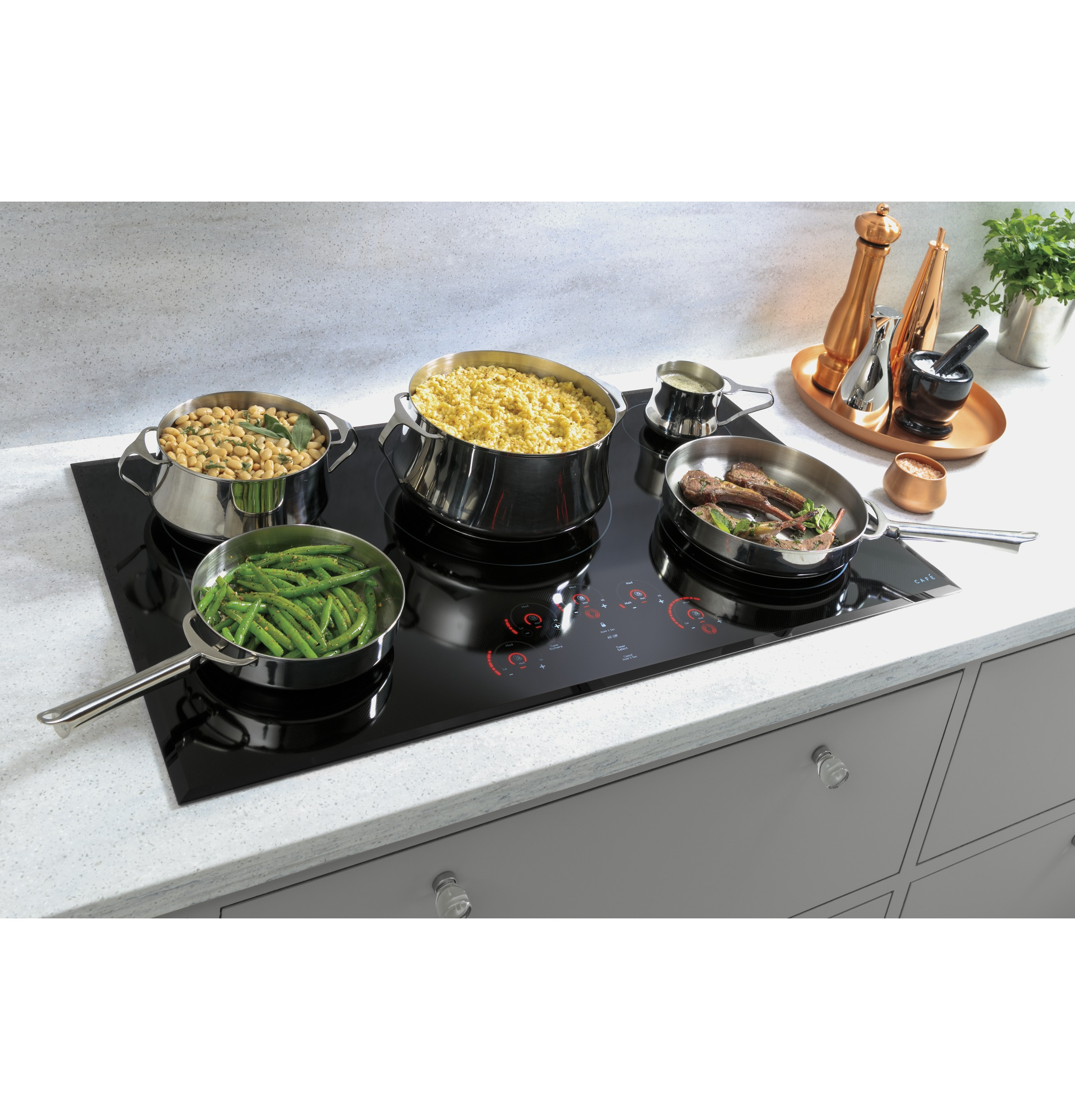 "Model: CEP90362NSS | Cafe Café™ 36"" Touch-Control Electric Cooktop"