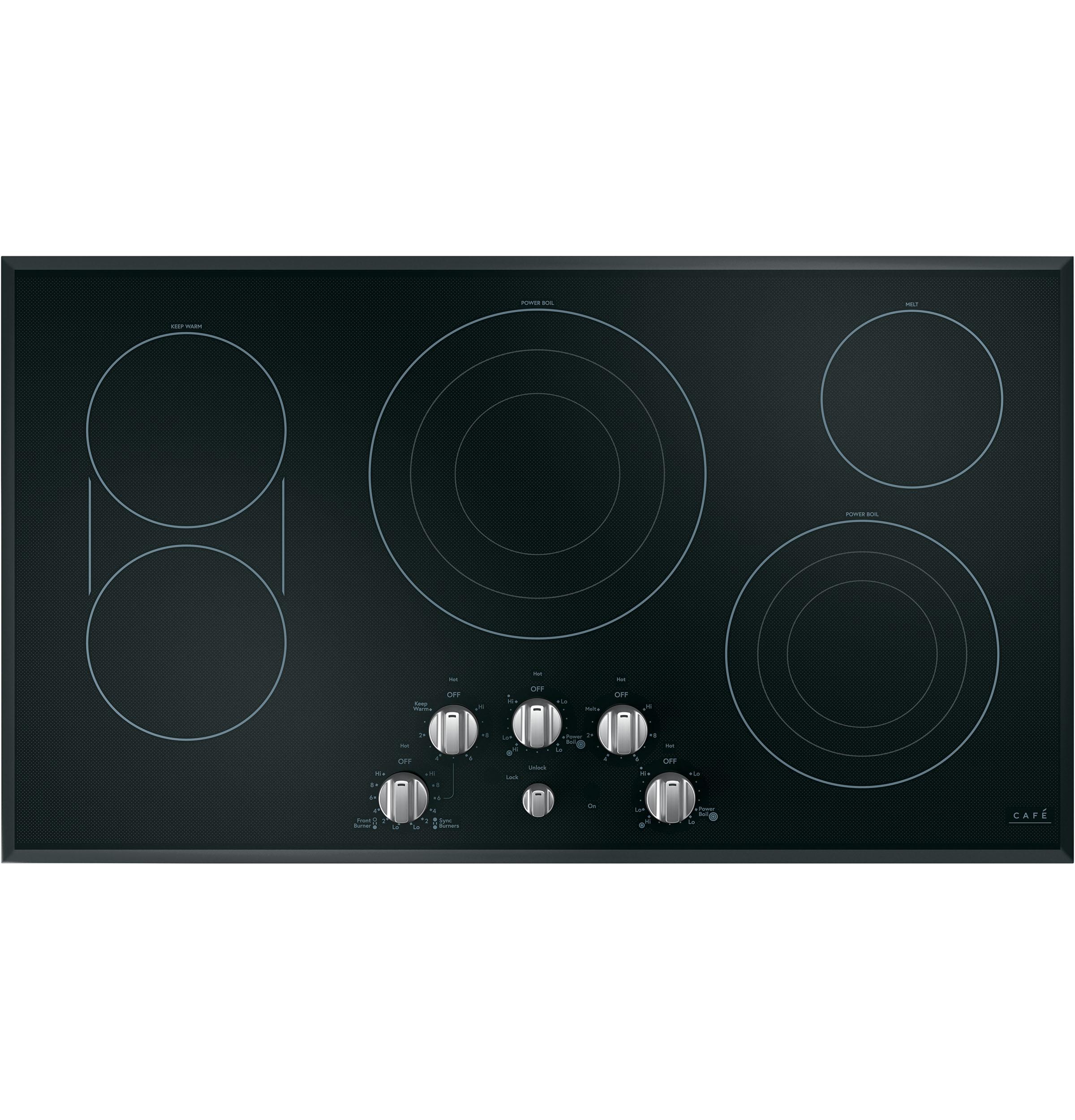 "Model: CEP70362MS1   Cafe Café™ 36"" Knob-Control Electric Cooktop"
