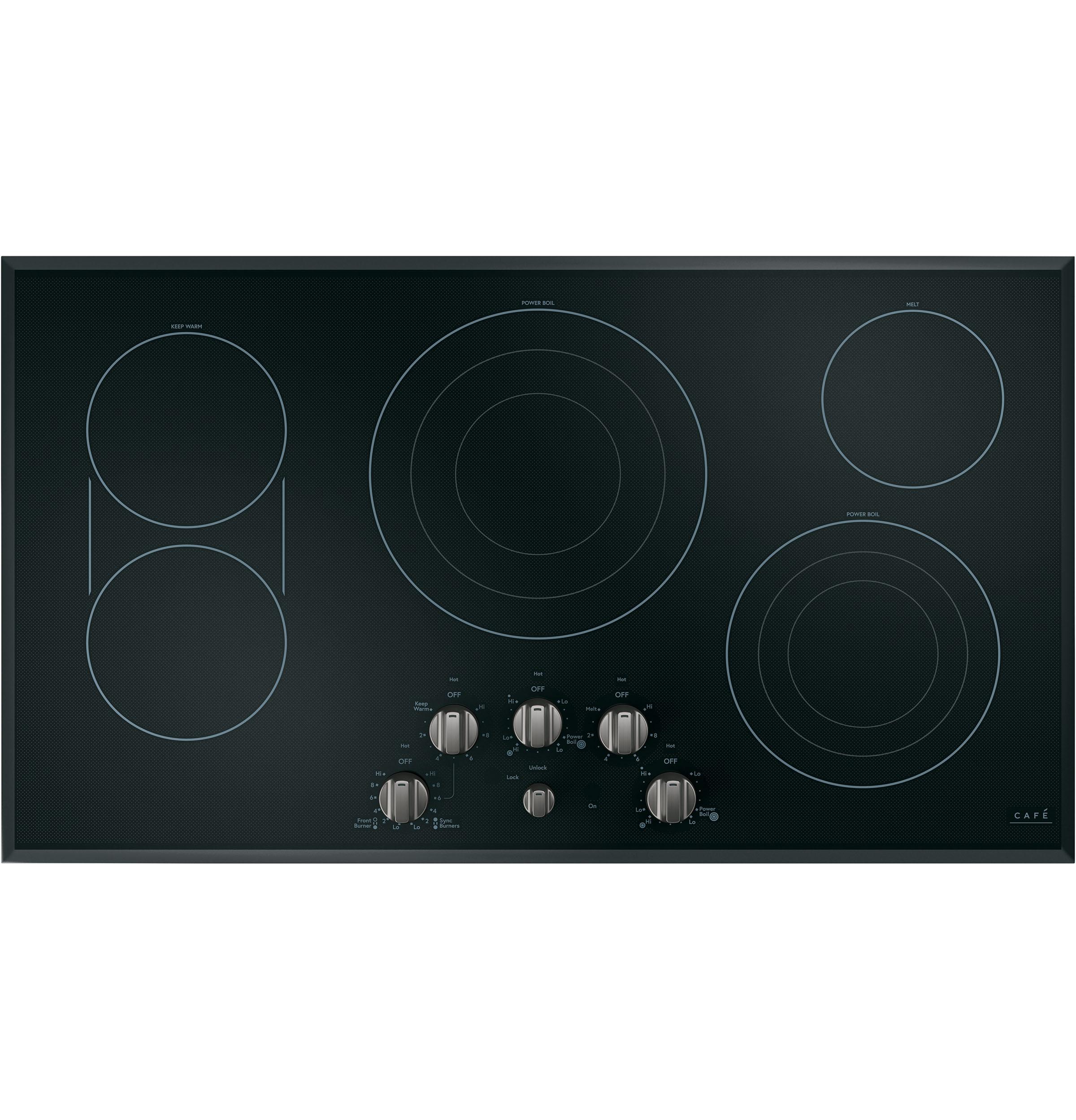 "Model: CEP70362MS1 | Cafe Café™ 36"" Knob-Control Electric Cooktop"