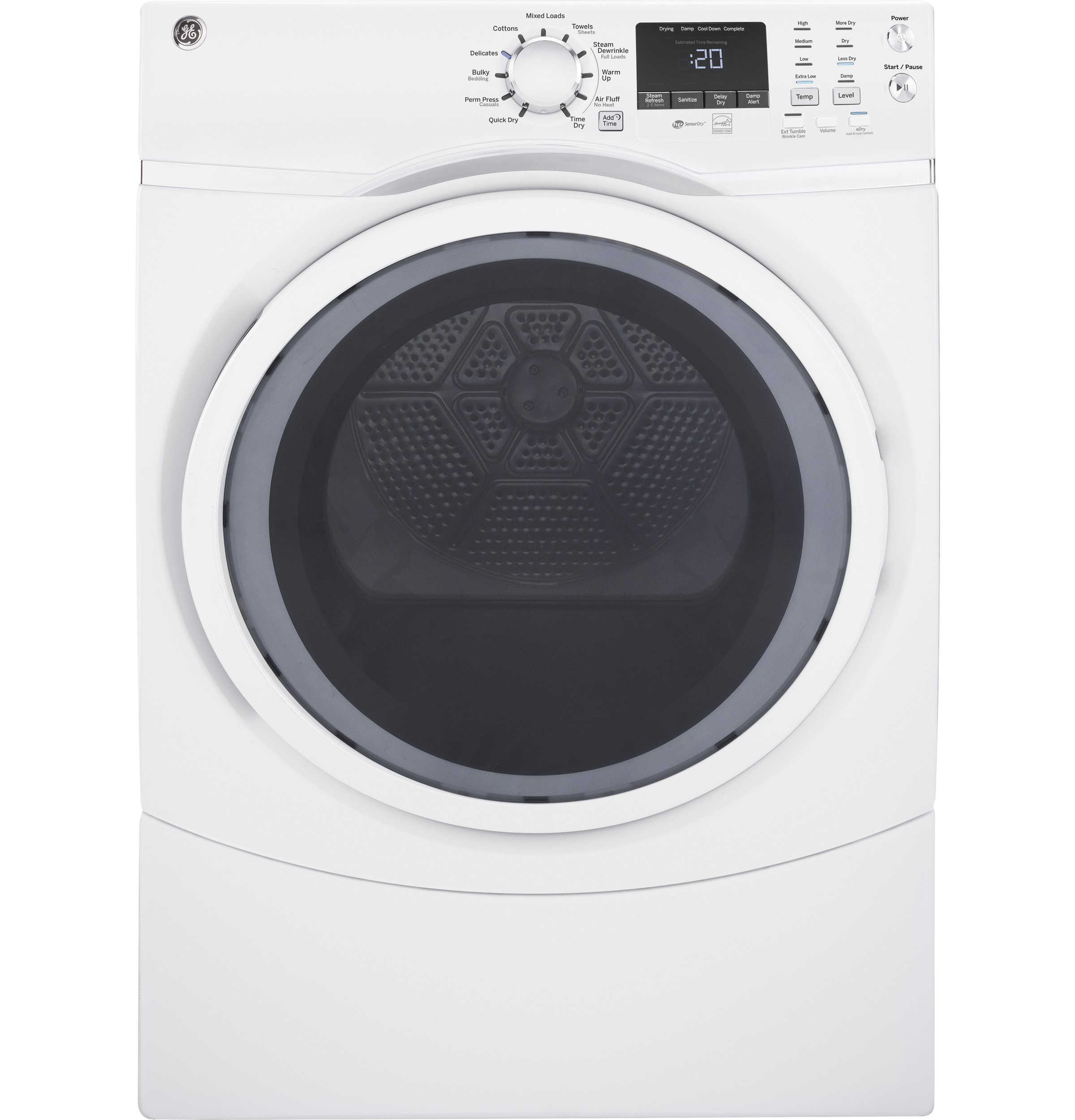 Model: GFD45ESSMWW | GE GE® 7.5 cu. ft. Capacity Front Load Electric Dryer with Steam