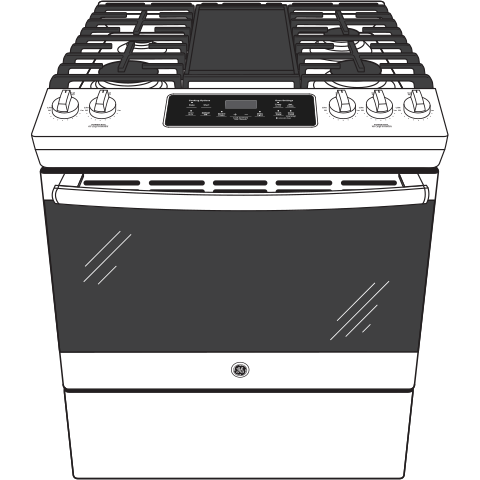 "Model: JGSS66SELSS | GE GE® 30"" Slide-In Front Control Gas Range"