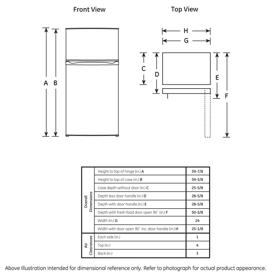 Model: GPE12FGKBB | GE GE® ENERGY STAR® 11.6 cu. ft. Top-Freezer Refrigerator