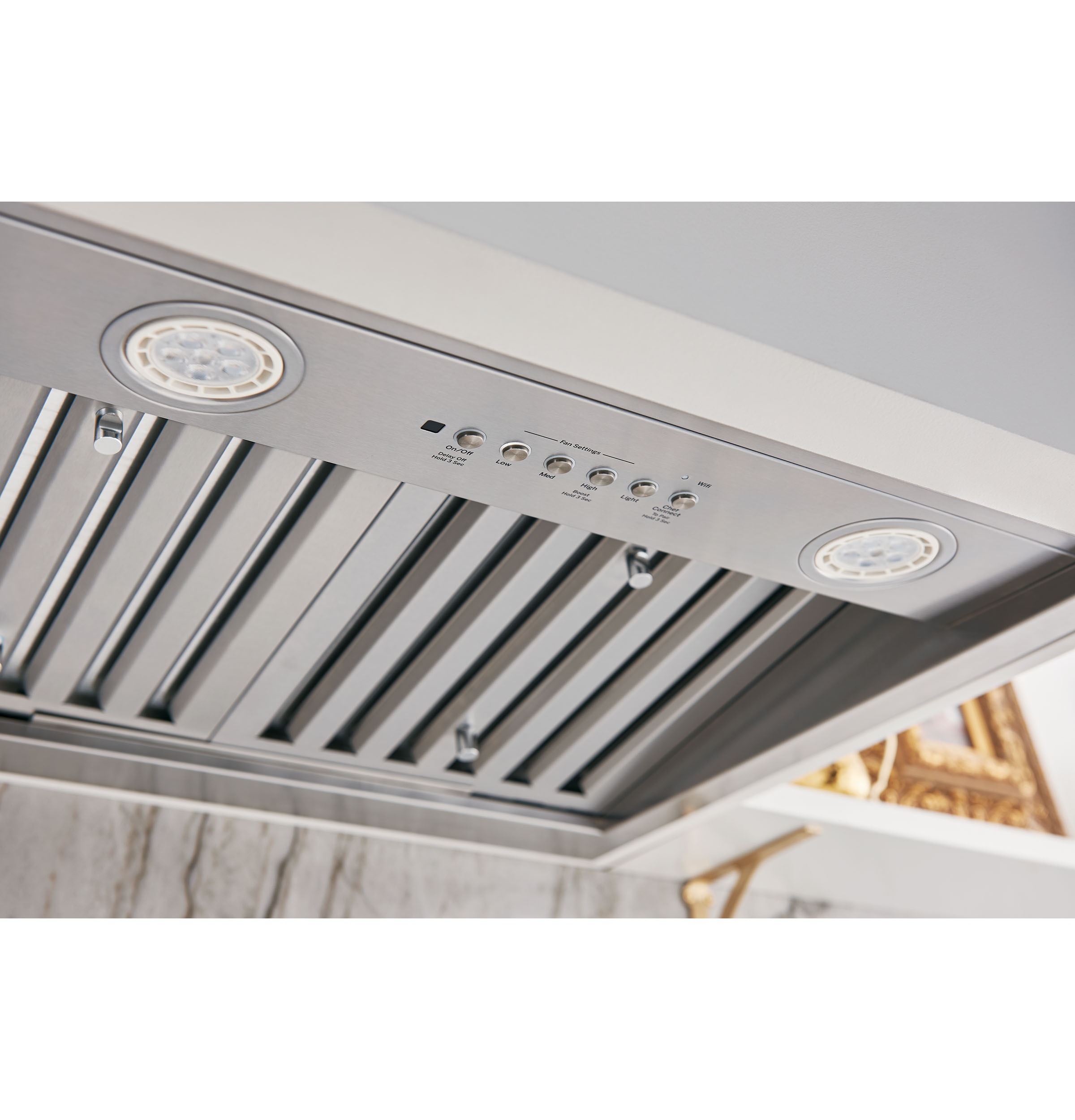 "Model: UVC9360SLSS | GE Profile 36"" Designer Custom Insert w/ Dimmable LED Lighting"