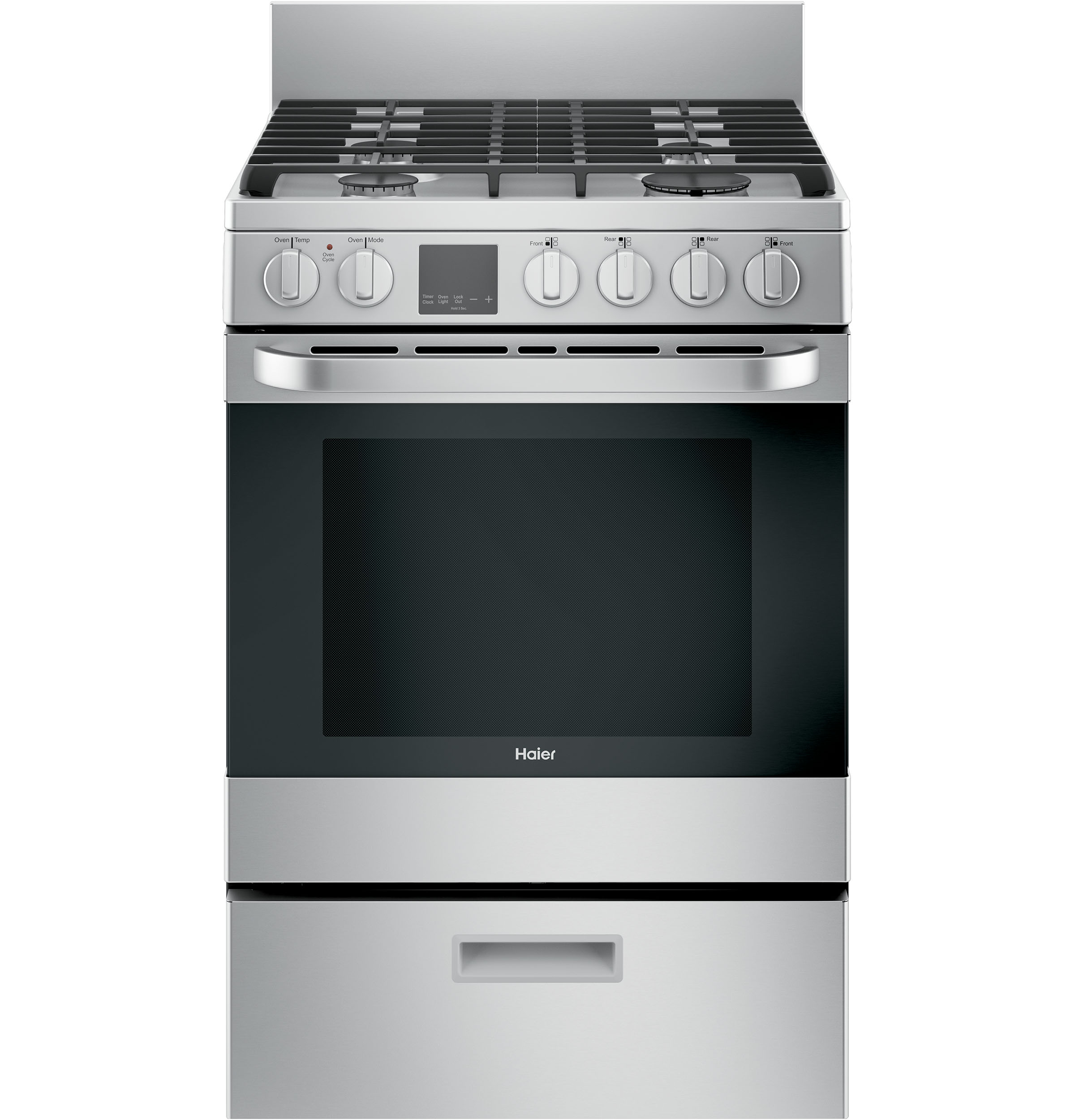 "Haier 24"" 2.9 Cu. Ft. Gas Free-Standing Range with Convection and Modular Backguard"