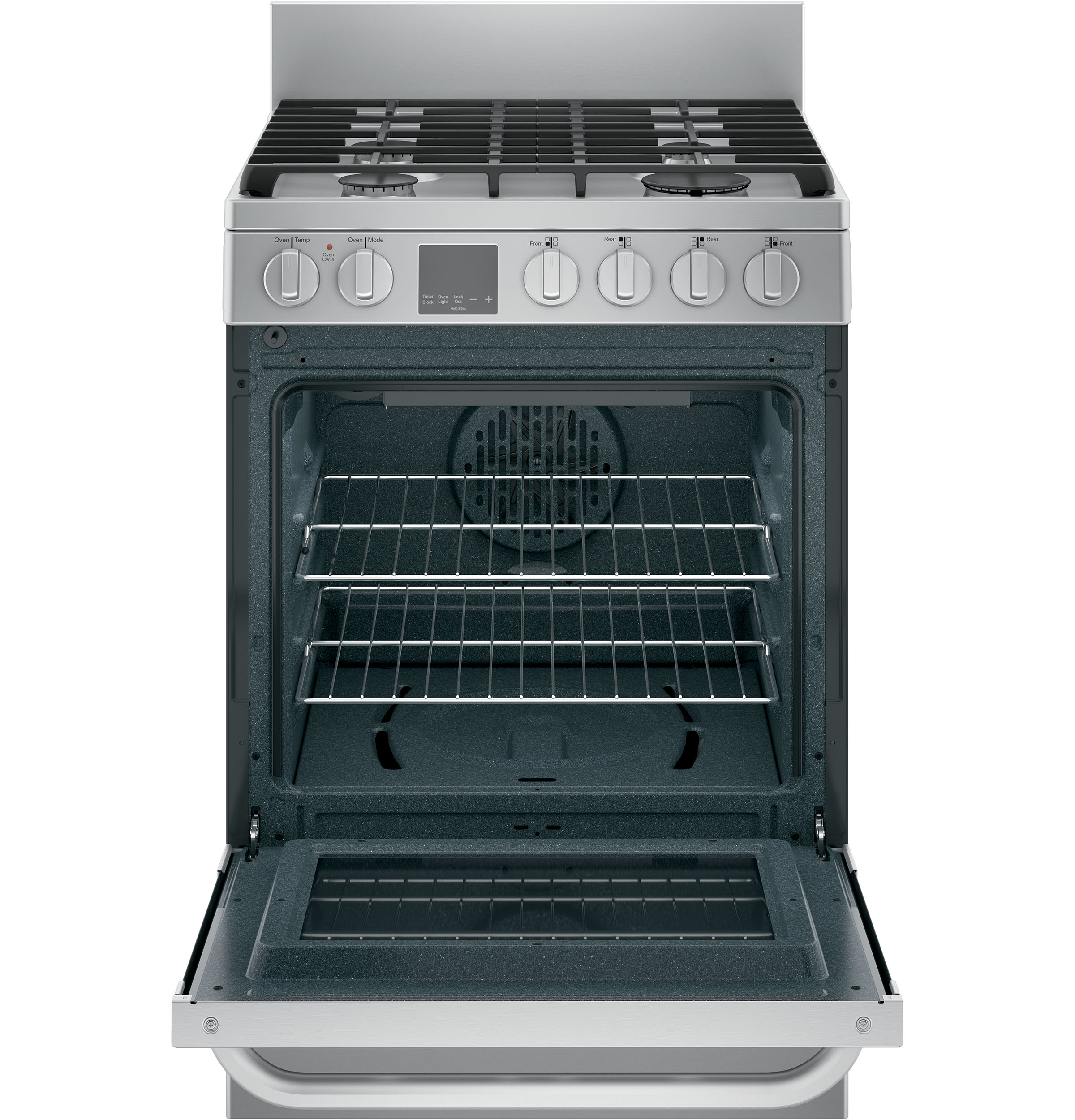"Model: QGAS740RMSS | Haier 24"" 2.9 Cu. Ft. Gas Free-Standing Range with Convection and Modular Backguard"