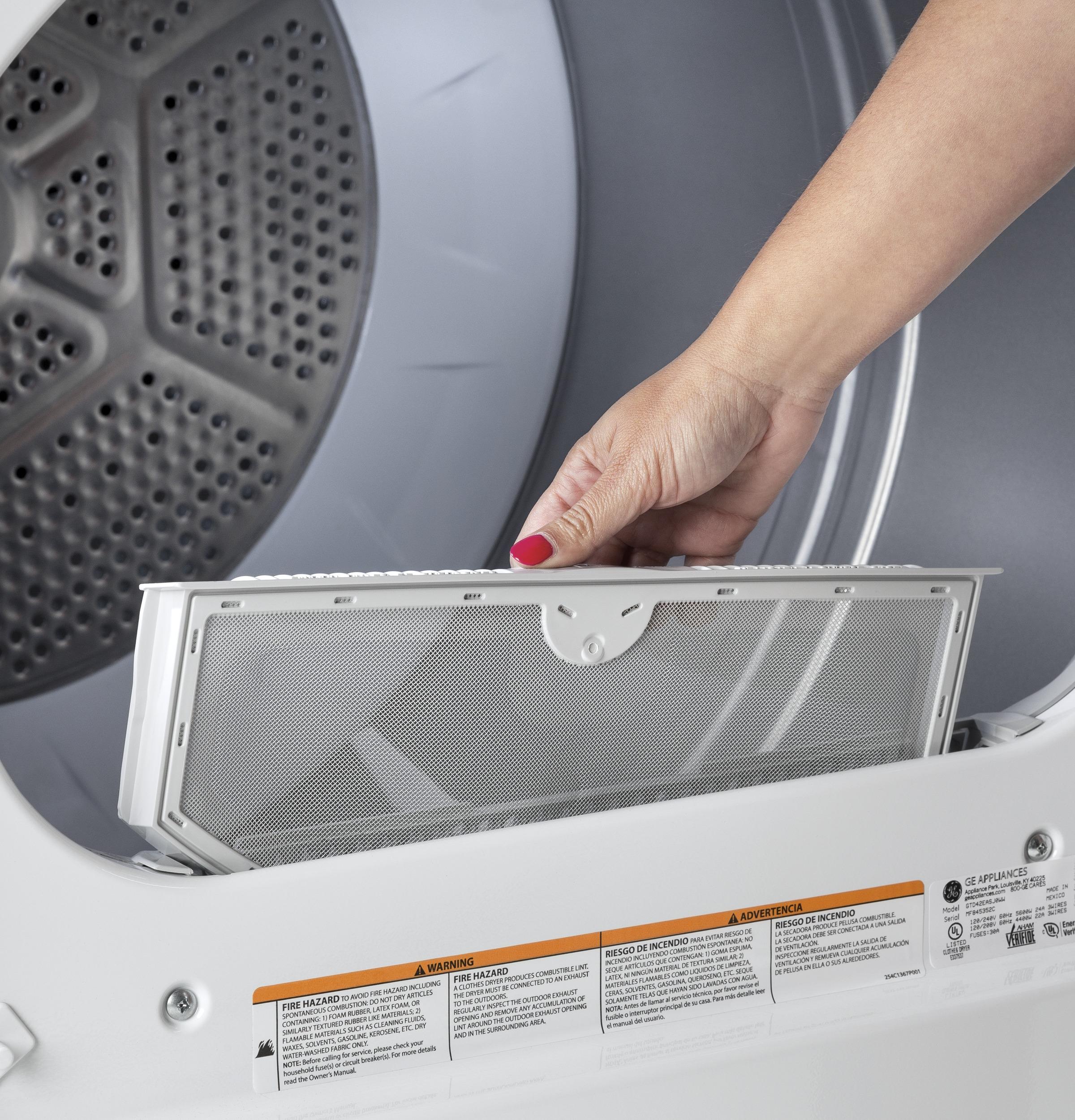 Model: GTX42EASJWW | GE GE® 6.2 cu. ft. Capacity aluminized alloy drum Electric Dryer