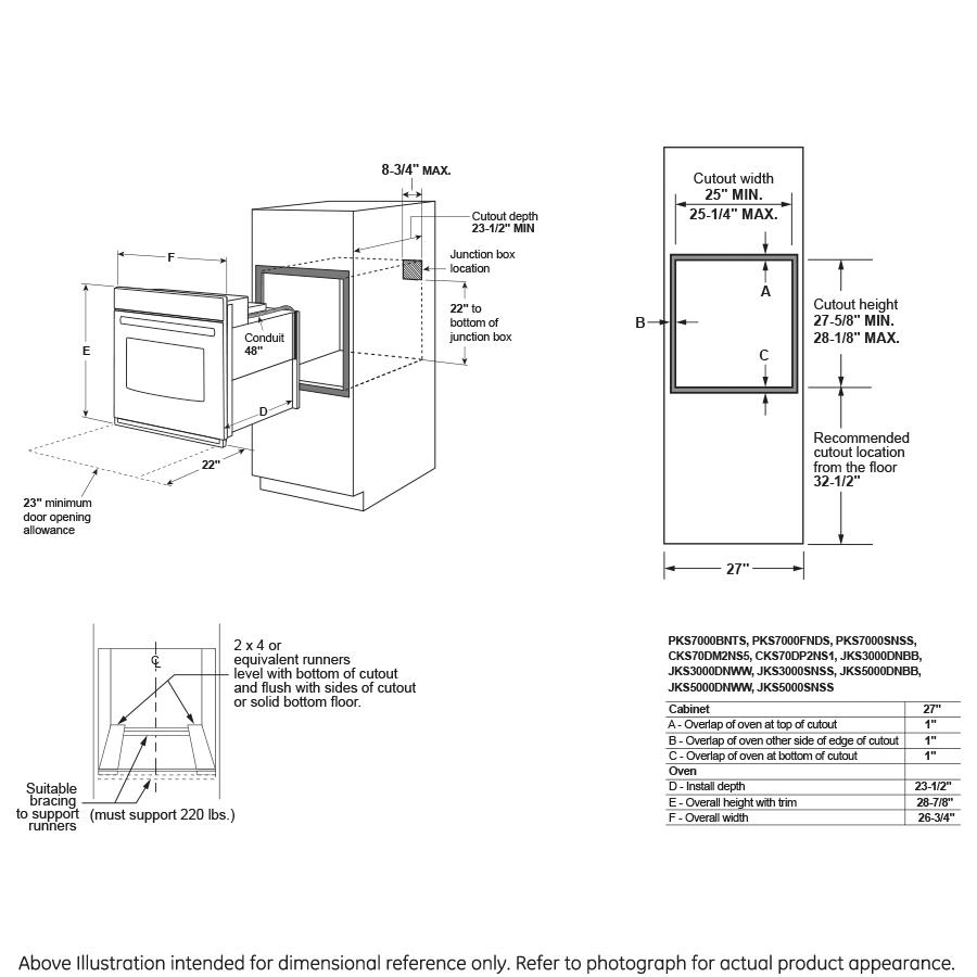"Model: JKS3000DNBB | GE GE® 27"" Smart Built-In Single Wall Oven"
