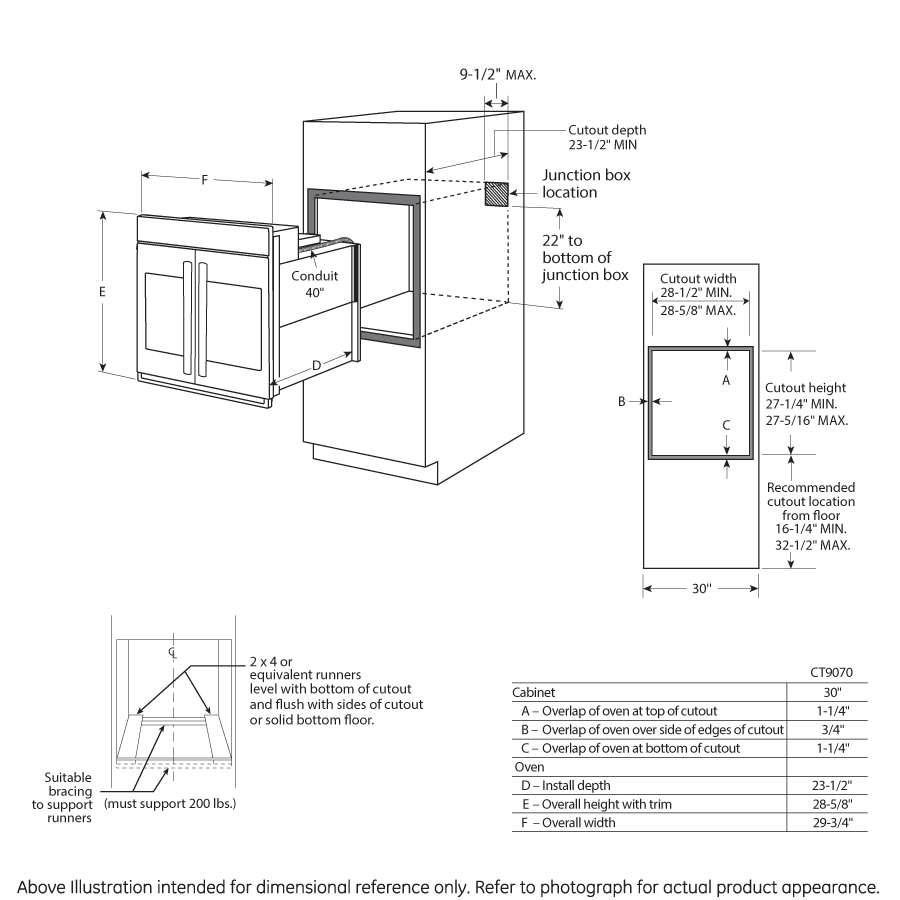 """Model: CTS90FP4MW2   Cafe Café™ 30"""" Smart French-Door Single Wall Oven with Convection"""