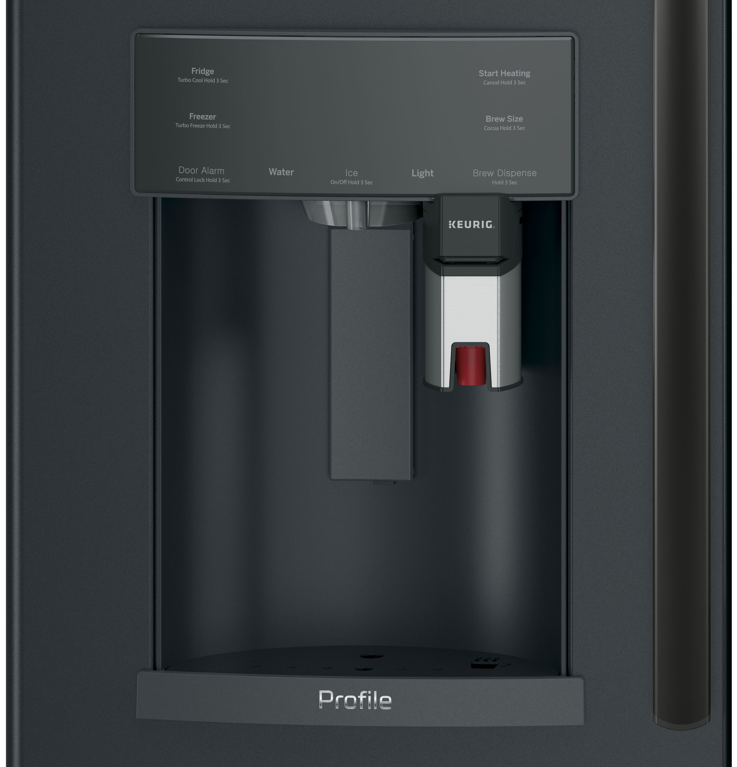 Model: PYE22PELDS | GE Profile™ Series ENERGY STAR® 22.2 Cu. Ft. Counter-Depth French-Door Refrigerator with Keurig® K-Cup® Brewing System