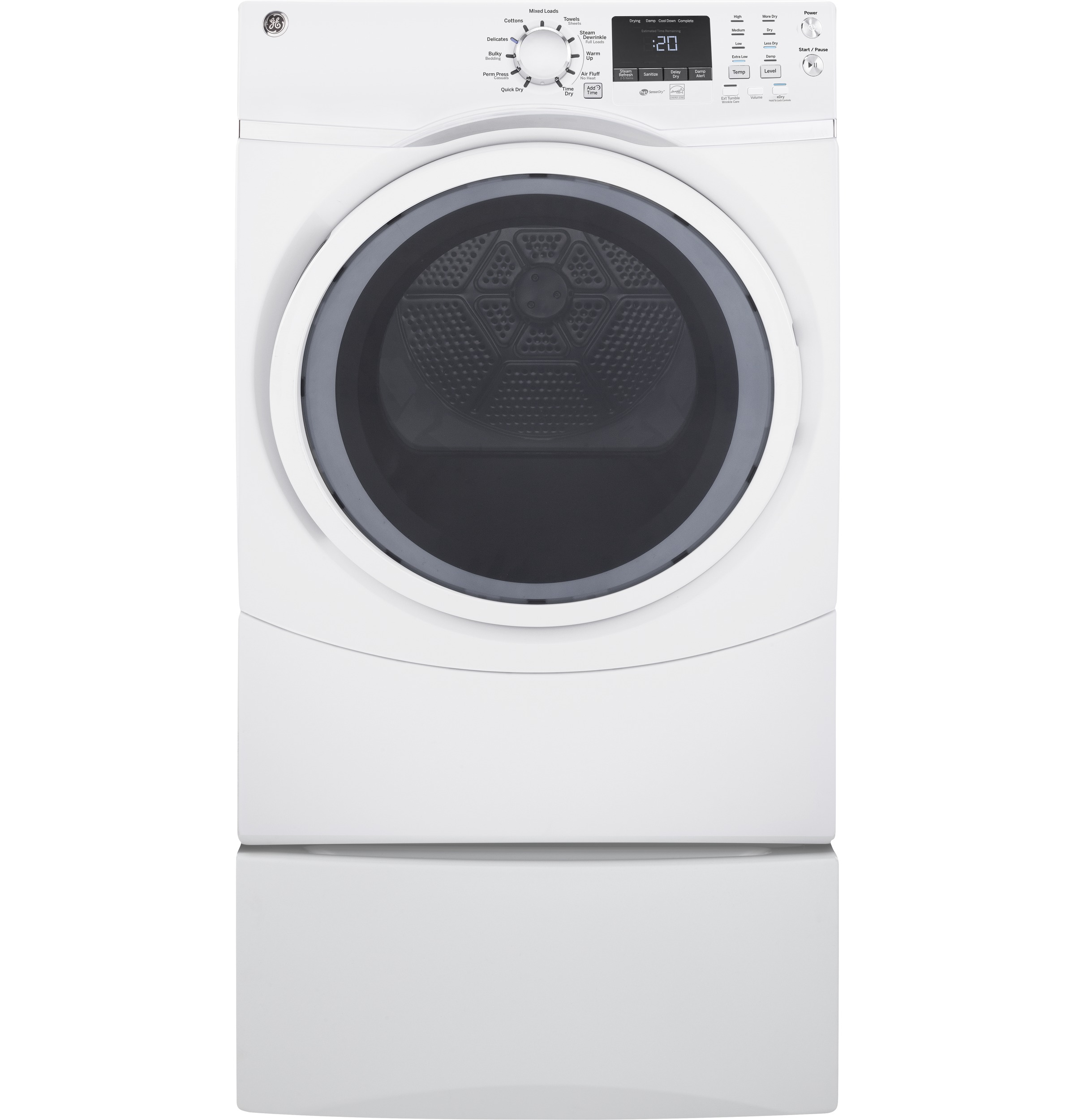 Model: GFD45GSSMWW | GE GE® 7.5 cu. ft. Capacity Front Load Gas Dryer with Steam