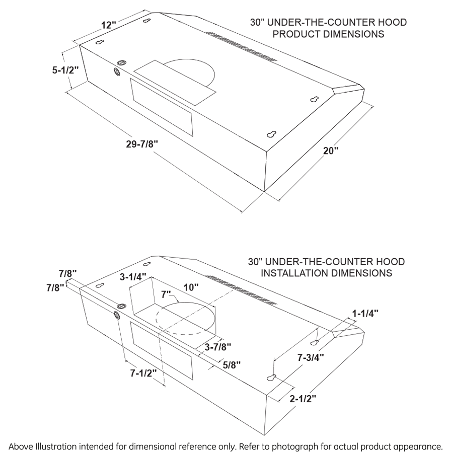 """Model: JVX3300DJWW   GE GE® 30"""" Under The Cabinet Hood"""