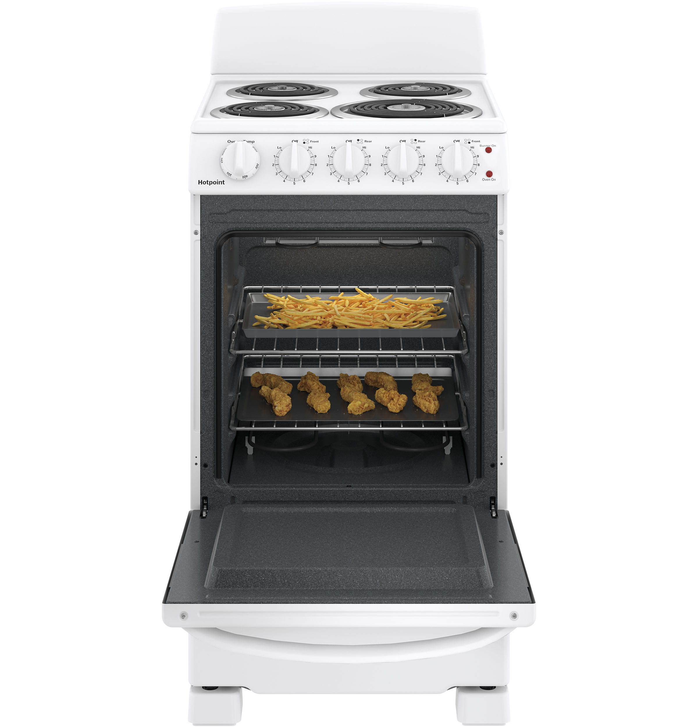 "Model: RAS200DMWW | Hotpoint Hotpoint® 20"" Electric Free-Standing Front-Control Electric Range"