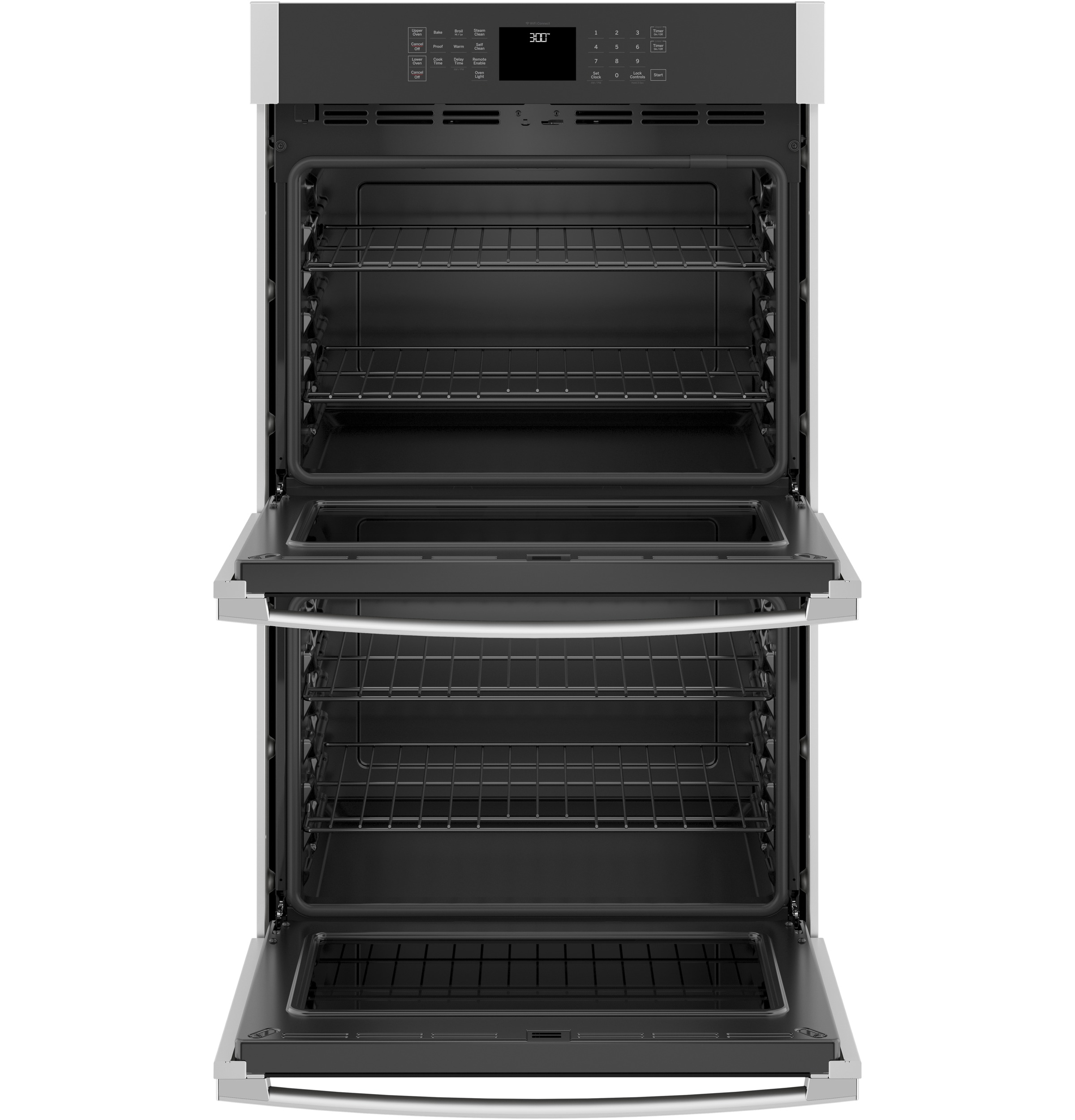 "Model: JTD3000SNSS | GE GE® 30"" Smart Built-In Self-Clean Double Wall Oven with Never-Scrub Racks"