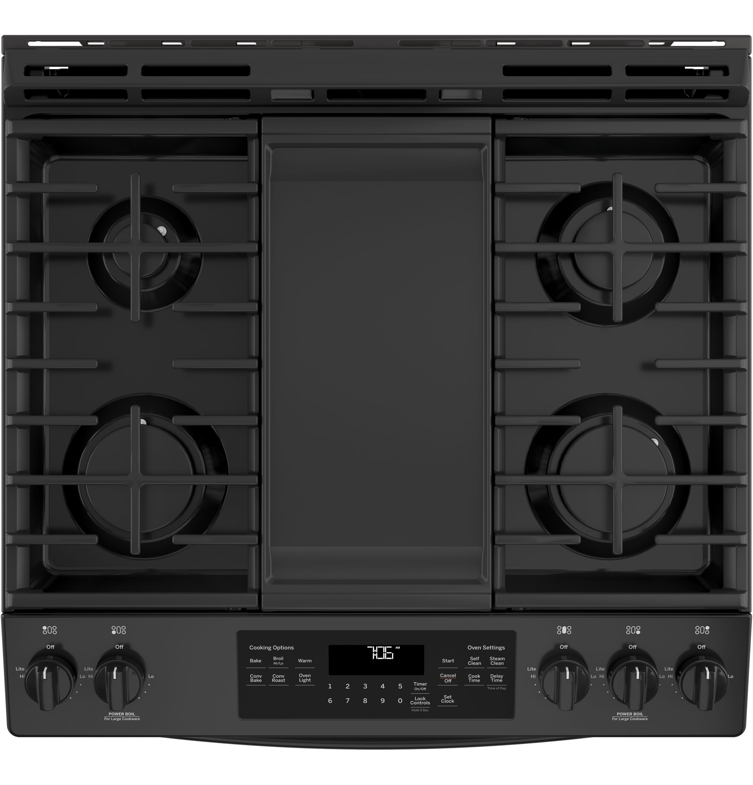 "Model: JGS760DELBB | GE GE® 30"" Slide-In Front-Control Convection Gas Range"