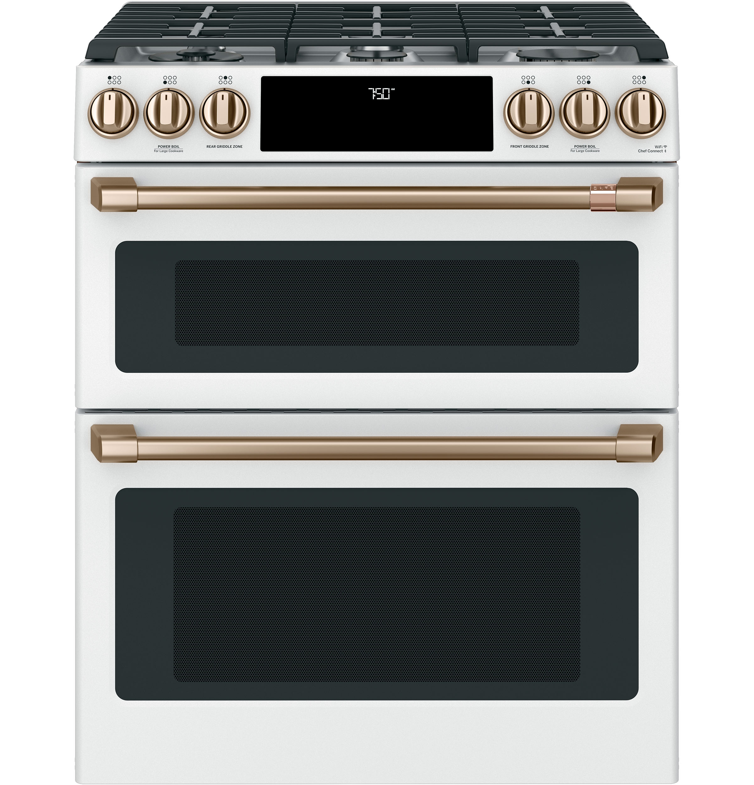 "Cafe Café™ 30"" Smart Slide-In, Front-Control, Gas Double-Oven Range with Convection"