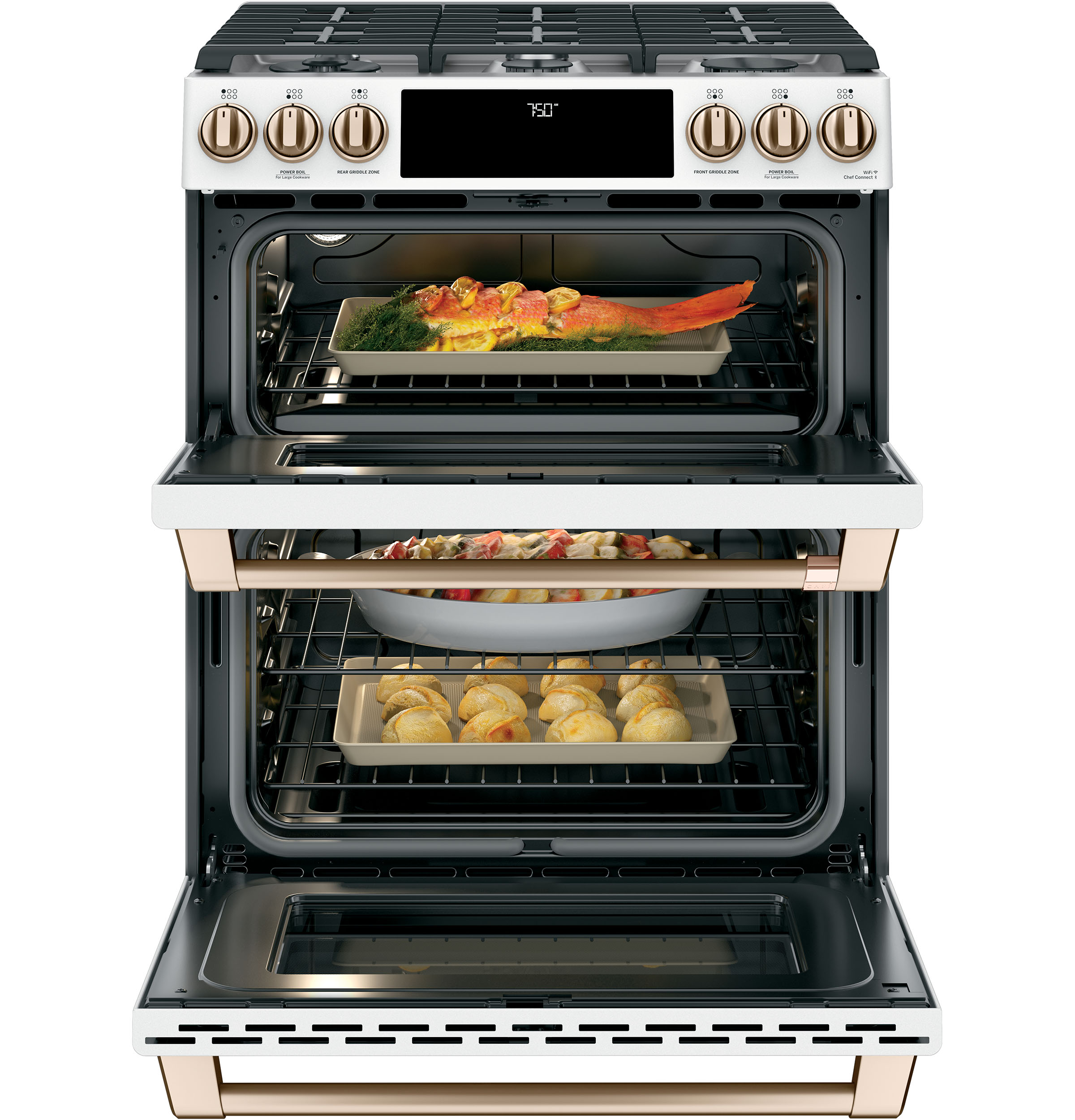 "Model: CGS750P4MW2 | Cafe Café™ 30"" Smart Slide-In, Front-Control, Gas Double-Oven Range with Convection"