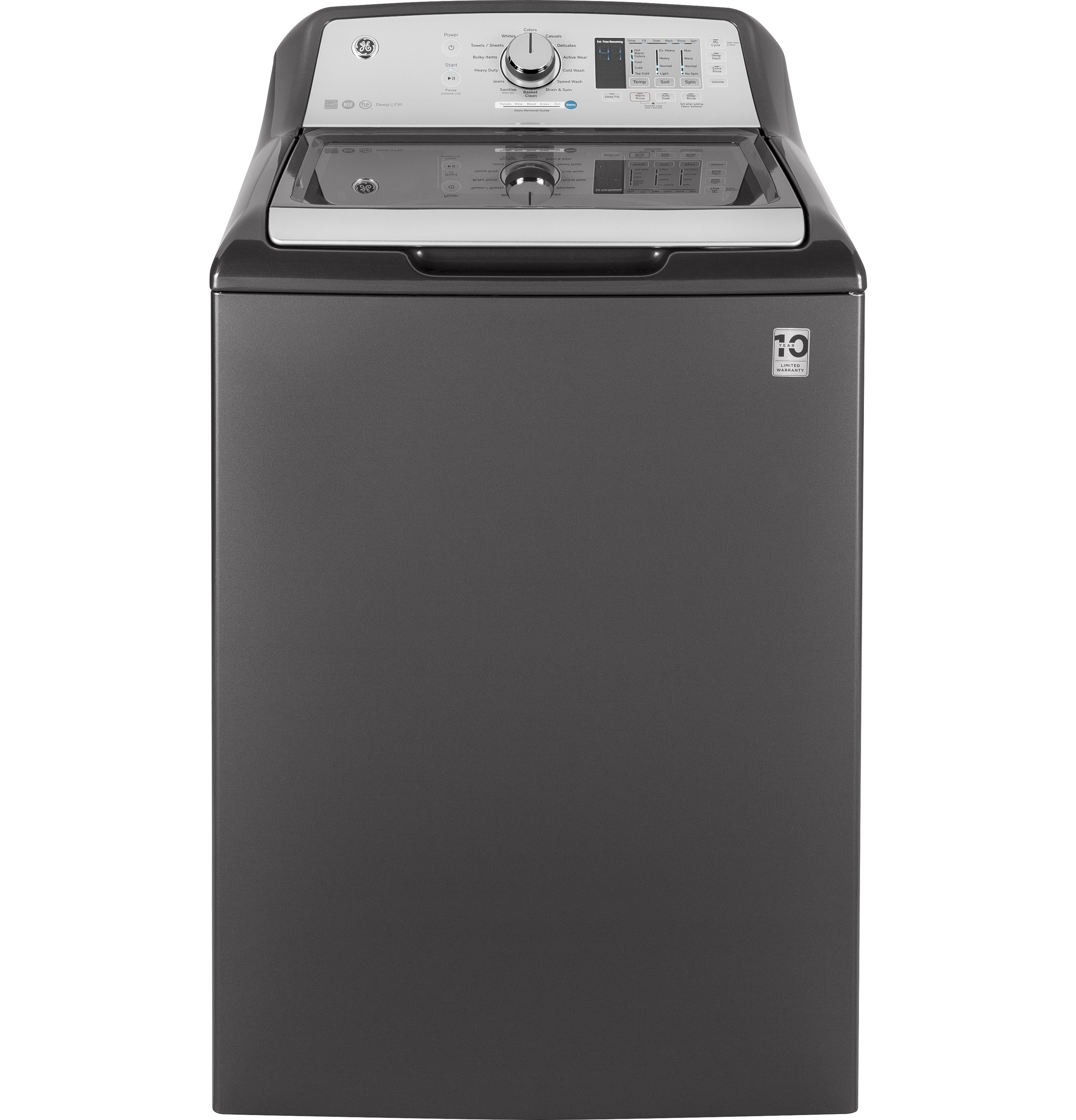 Model: GTW685BPLDG | GE® 4.5  cu. ft. Capacity Washer with Stainless Steel Basket