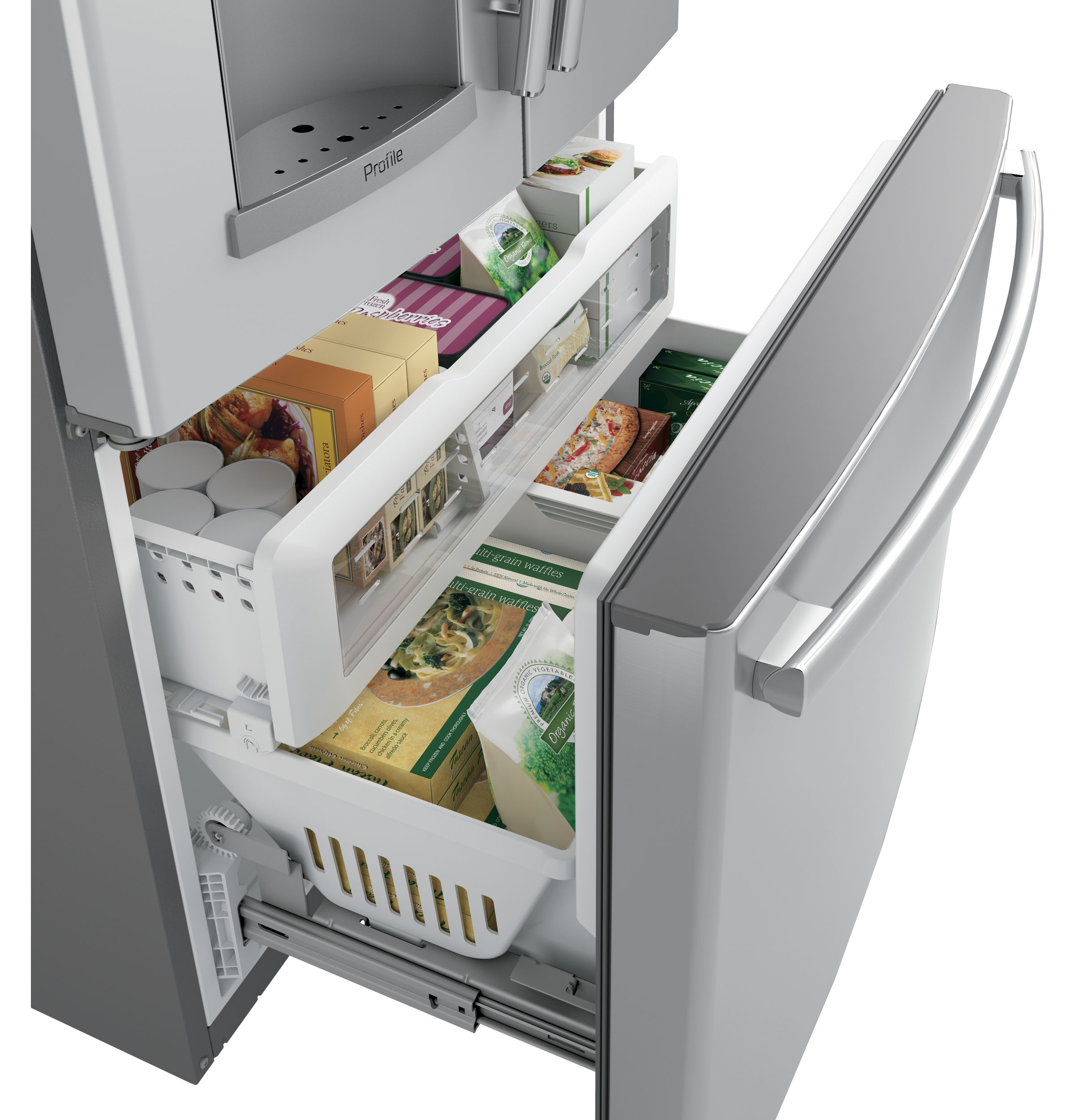 Model: PYE22KSKSS | GE Profile™ Series ENERGY STAR® 22.2 Cu. Ft. Counter-Depth French-Door Refrigerator with Hands-Free AutoFill