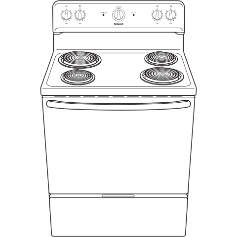 "Model: RBS160DMBB | Hotpoint Hotpoint® 30"" Free-Standing Electric Range"