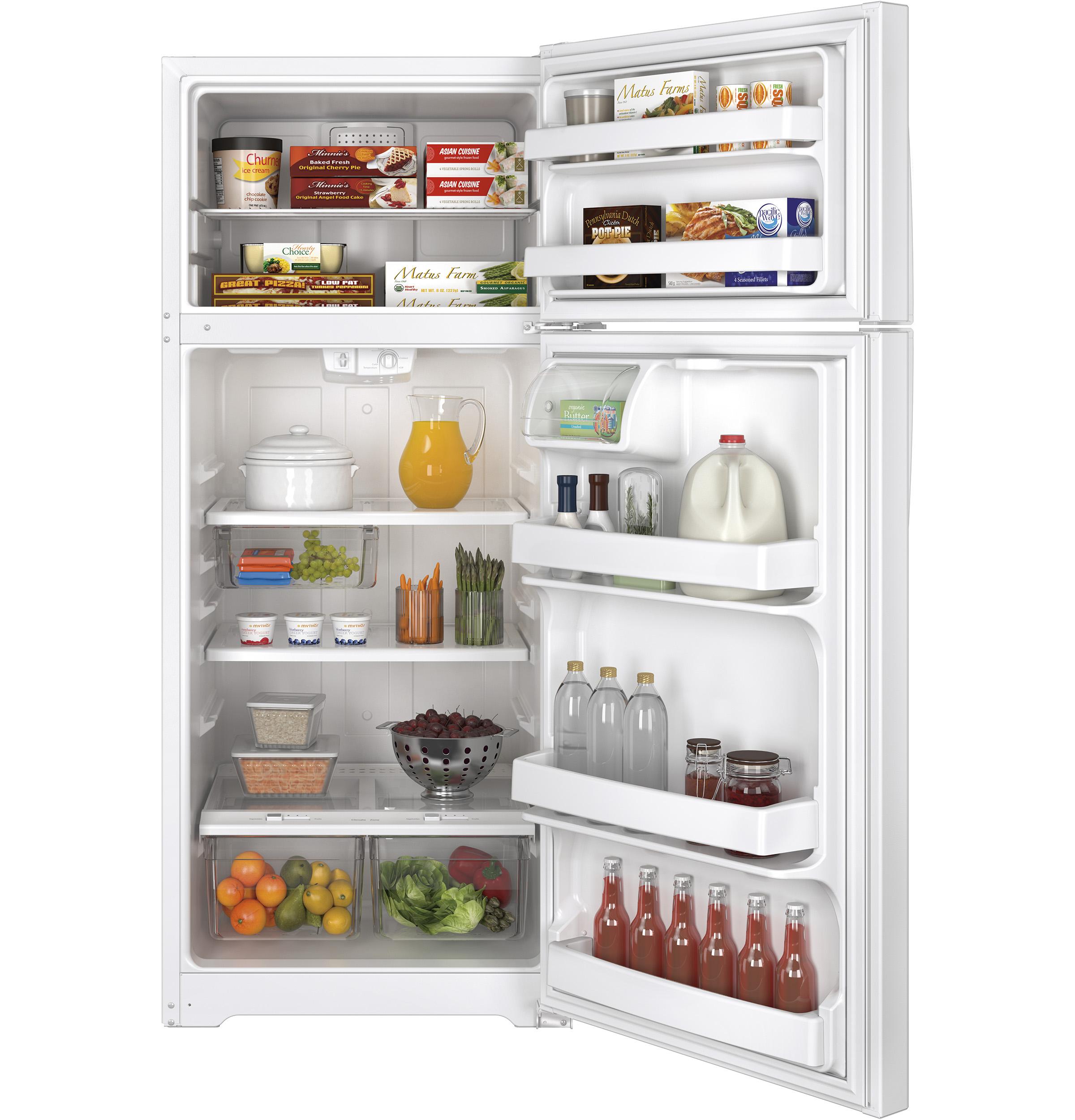 Model: GTE18GTHWW   GE GE® ENERGY STAR® 17.5 Cu. Ft. Top-Freezer Refrigerator