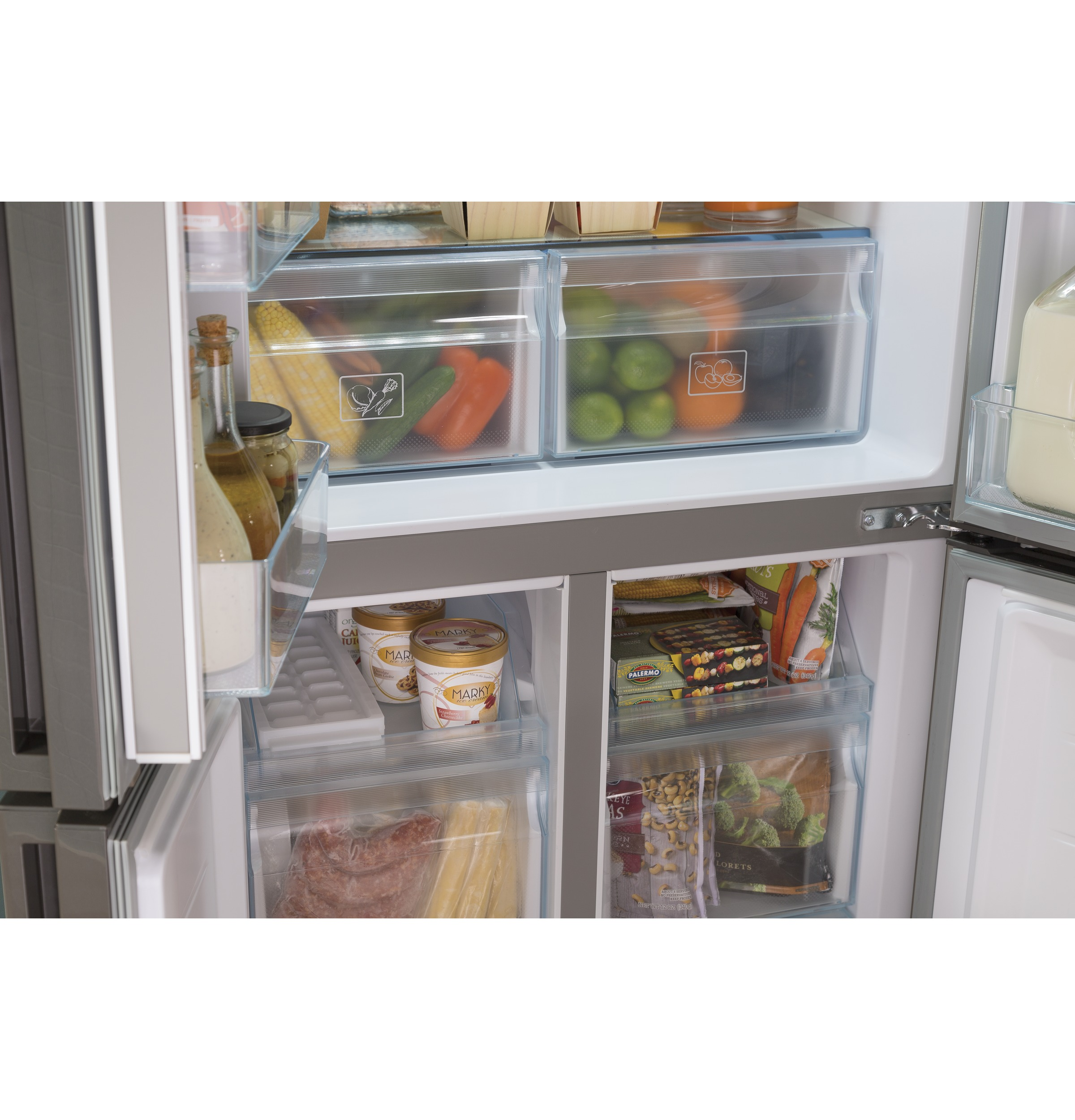 Model: HRQ16N3BGS | Haier 16.4 Cu. Ft. Quad Door Refrigerator