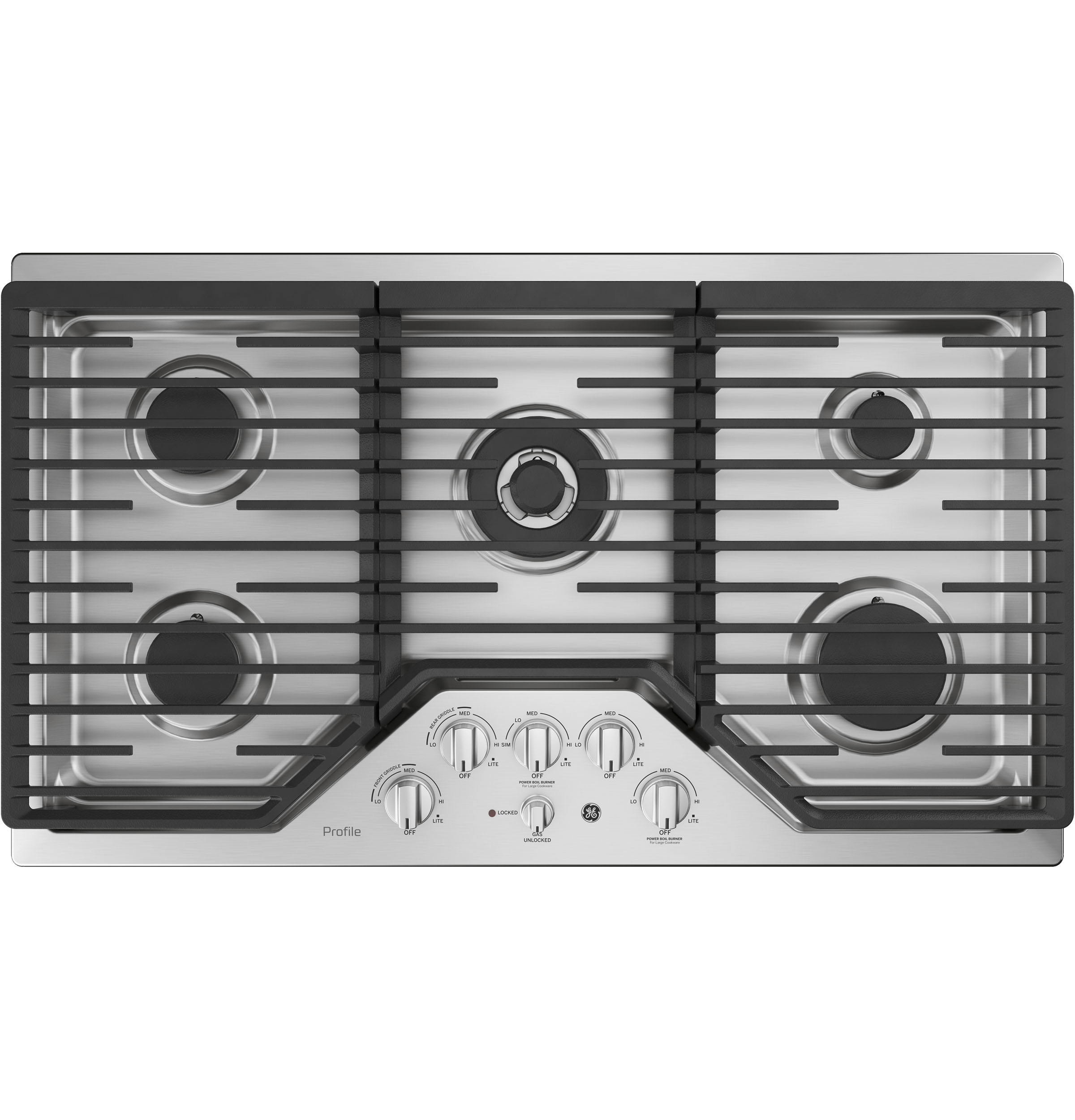 """Profile GE Profile™ 36"""" Built-In Tri-Ring Gas Cooktop with 5 Burners and Optional Extra-Large Integrated Griddle"""