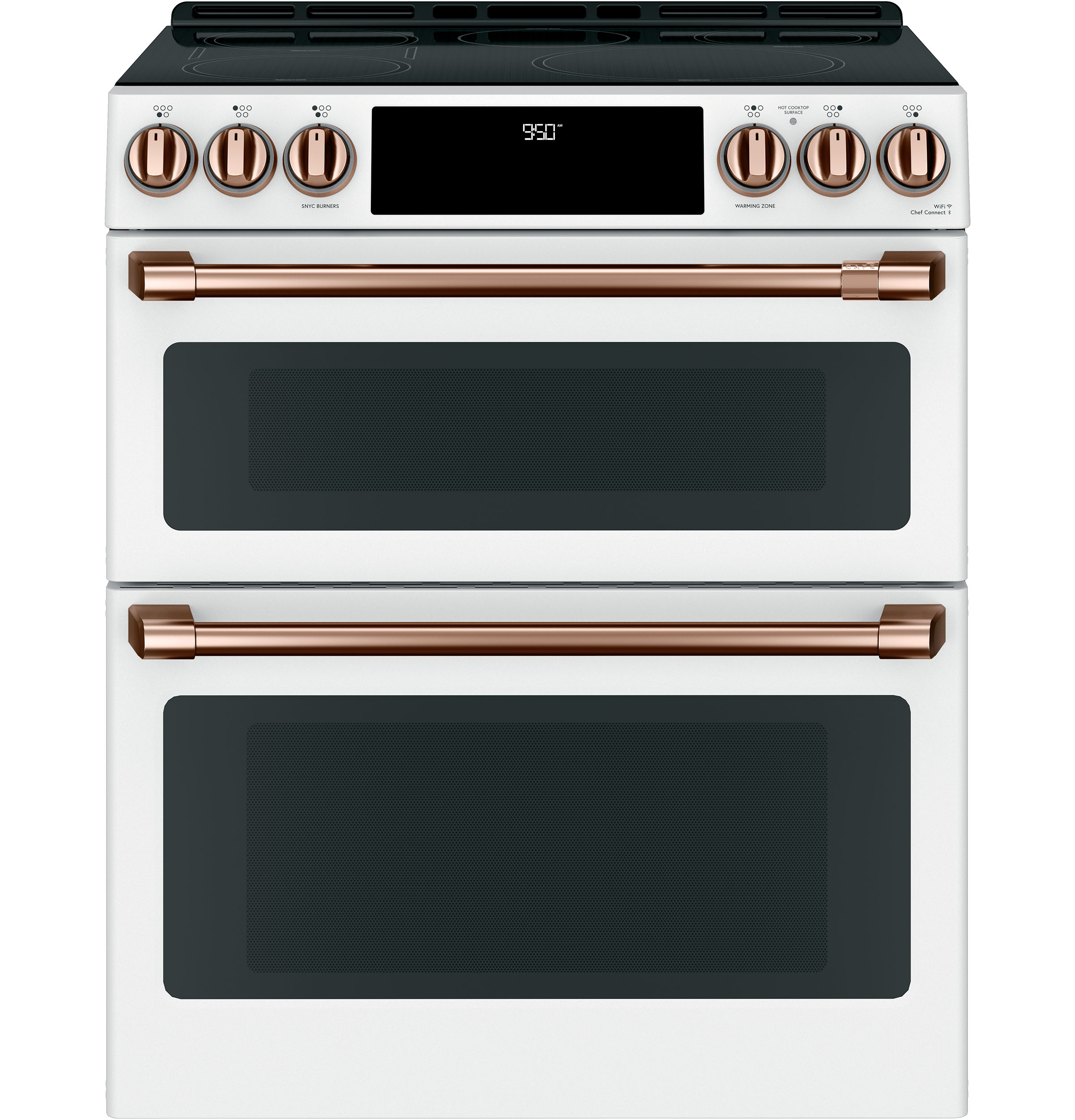 "Model: CHS950P4MW2 | Cafe Café™ 30"" Smart Slide-In, Front-Control, Induction and Convection Double-Oven Range"