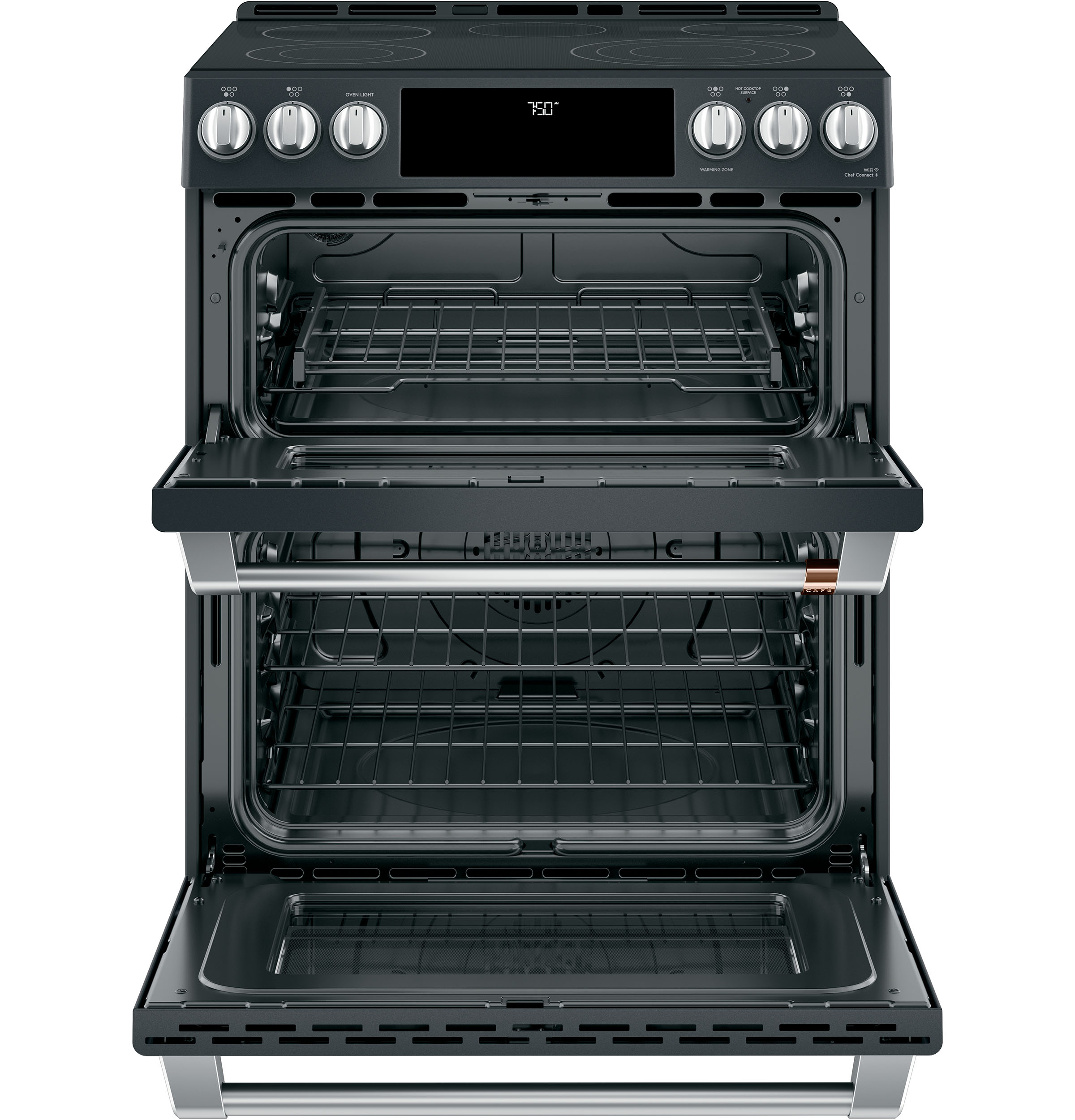 "Model: CES750P3MD1 | Cafe Café™ 30"" Smart Slide-In, Front-Control, Radiant and Convection Double-Oven Range"