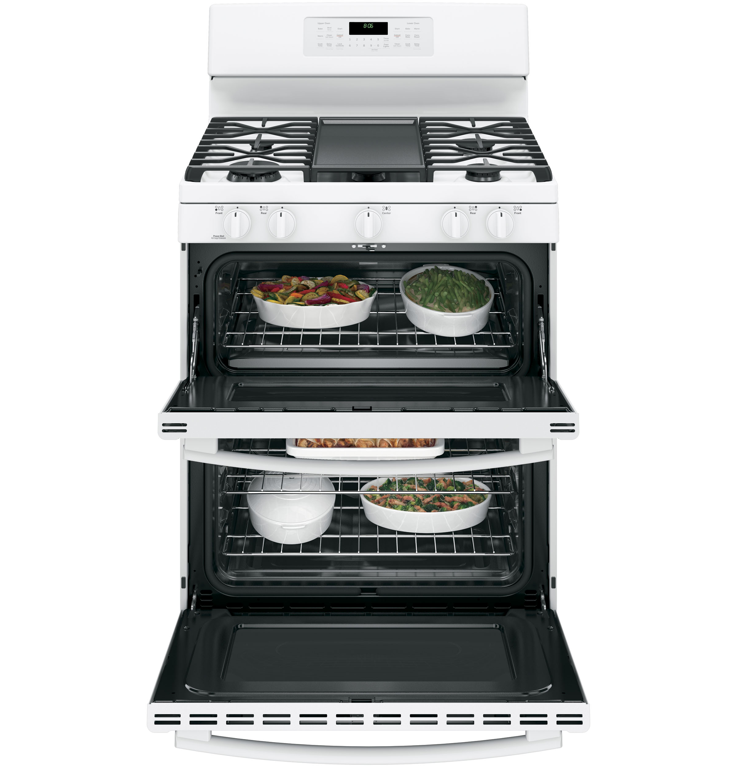 "Model: JGB860DEJWW | GE GE® 30"" Free-Standing Gas Double Oven Convection Range"