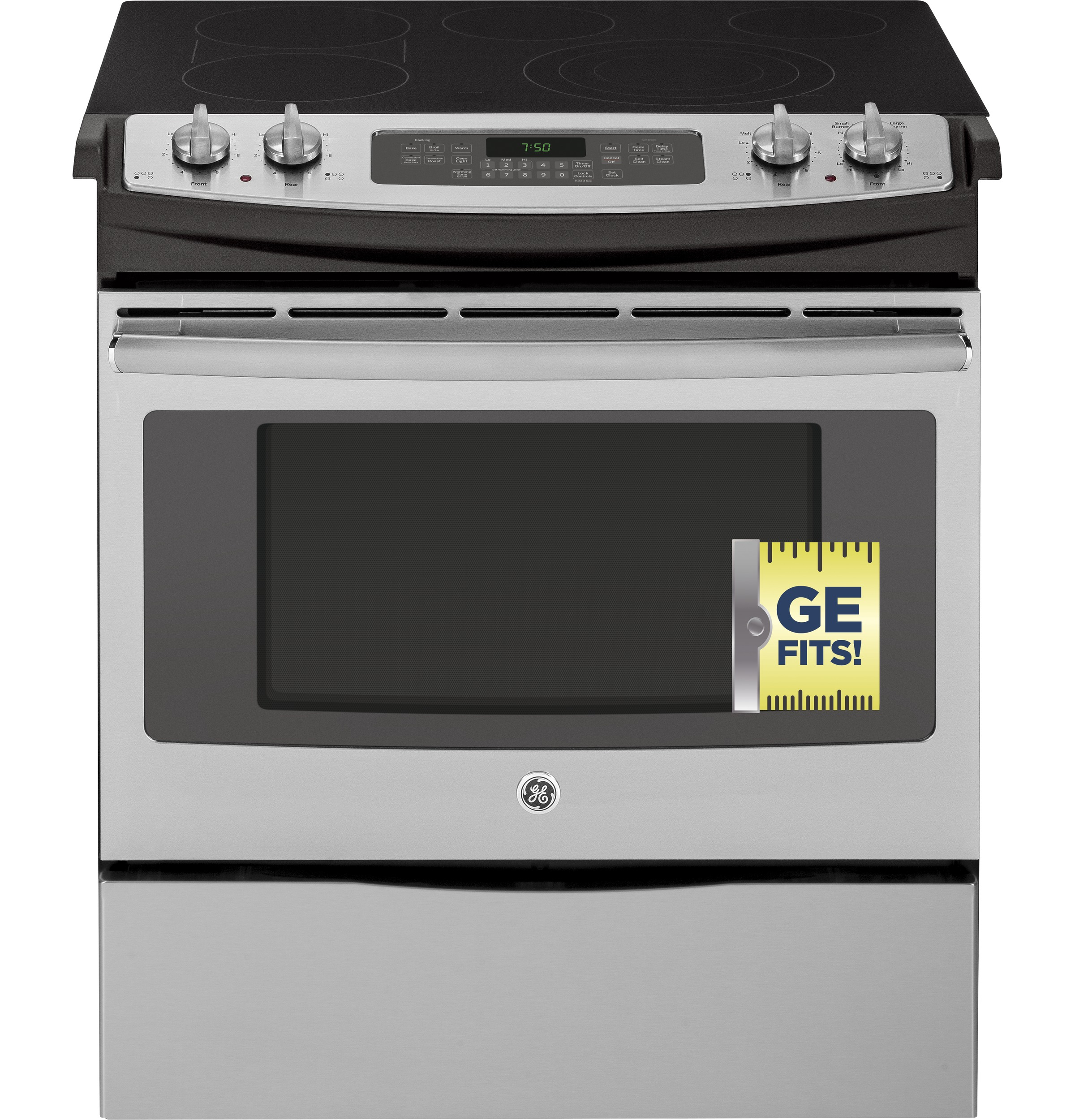"""Model: JS750SFSS   GE GE® 30"""" Slide-In Front Control Electric Convection Range"""
