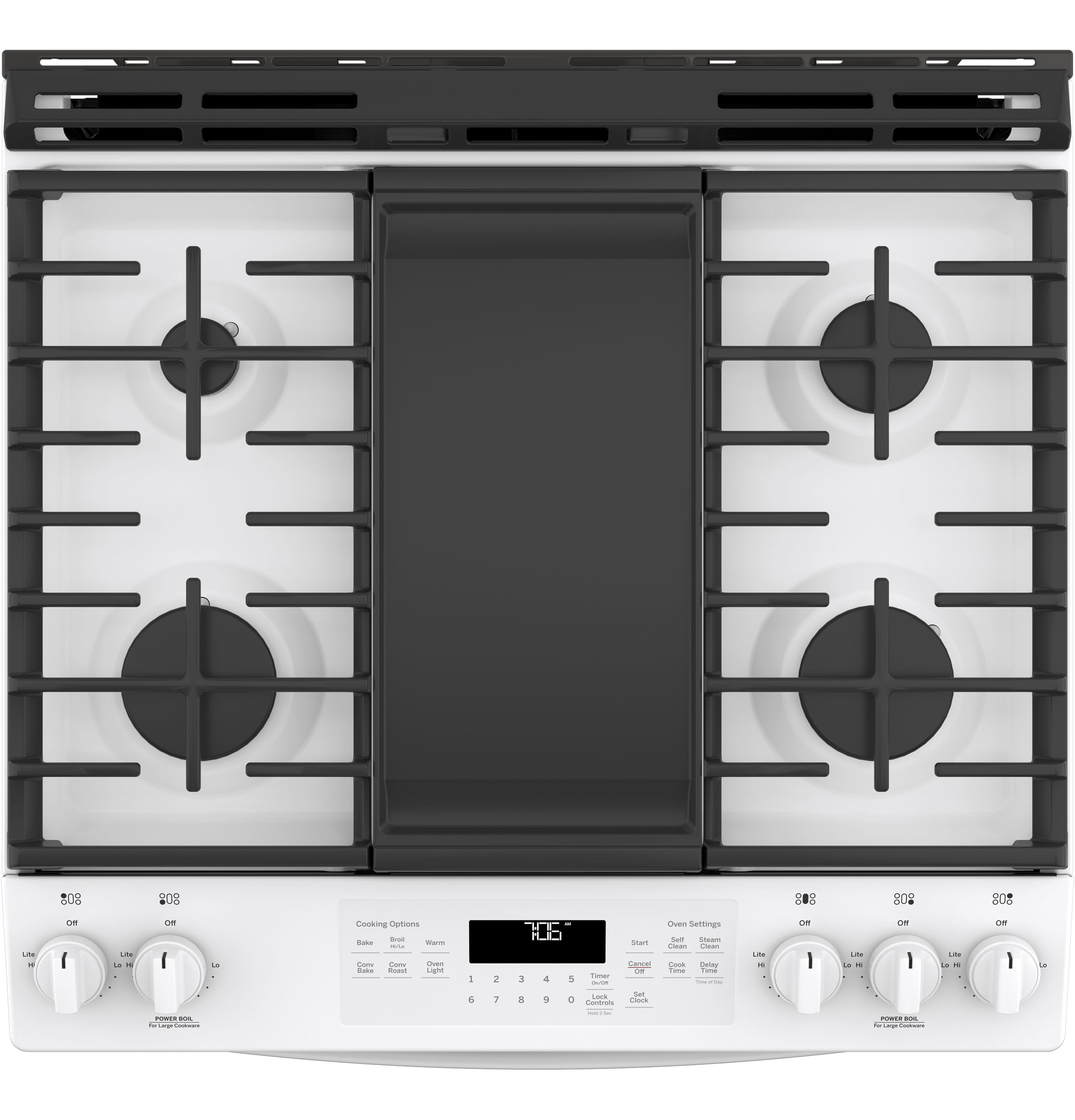 "Model: JGS760DELWW | GE GE® 30"" Slide-In Front-Control Convection Gas Range"