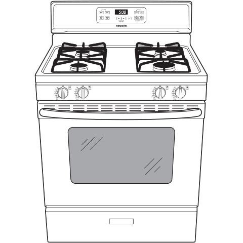 "Model: RGBS400DMBB | Hotpoint Hotpoint® 30"" Free-Standing Standard Clean Gas Range"