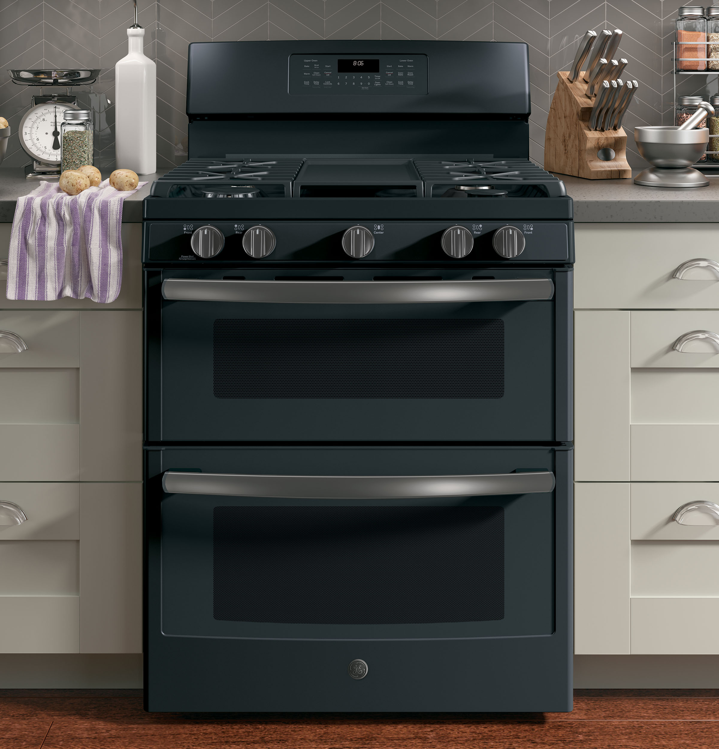 "Model: JGB860FEJDS | GE GE® 30"" Free-Standing Gas Double Oven Convection Range"
