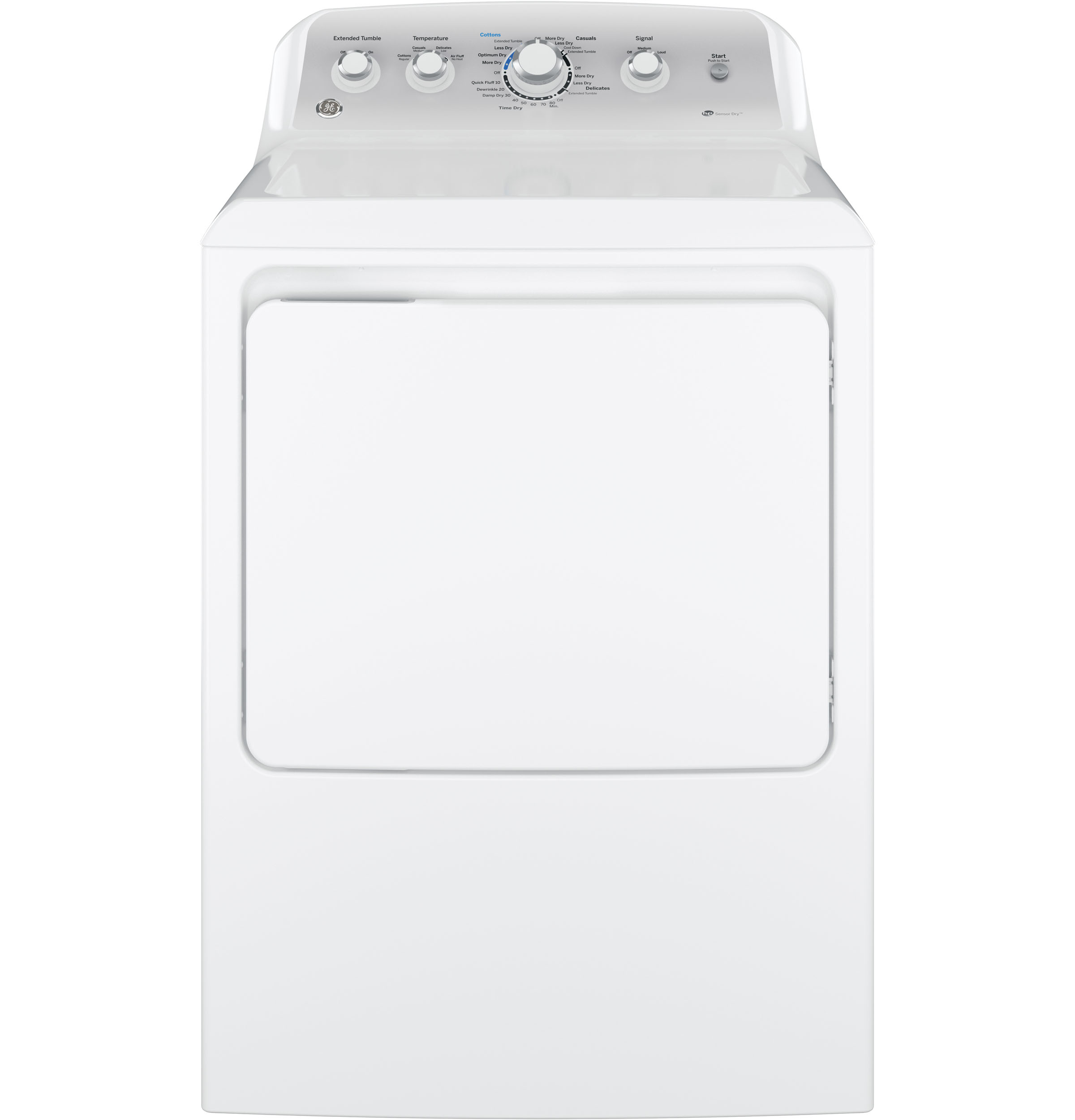 Model: GTD45EASJWS | GE GE® 7.2 cu. ft. Capacity aluminized alloy drum Electric Dryer with Sensor Dry
