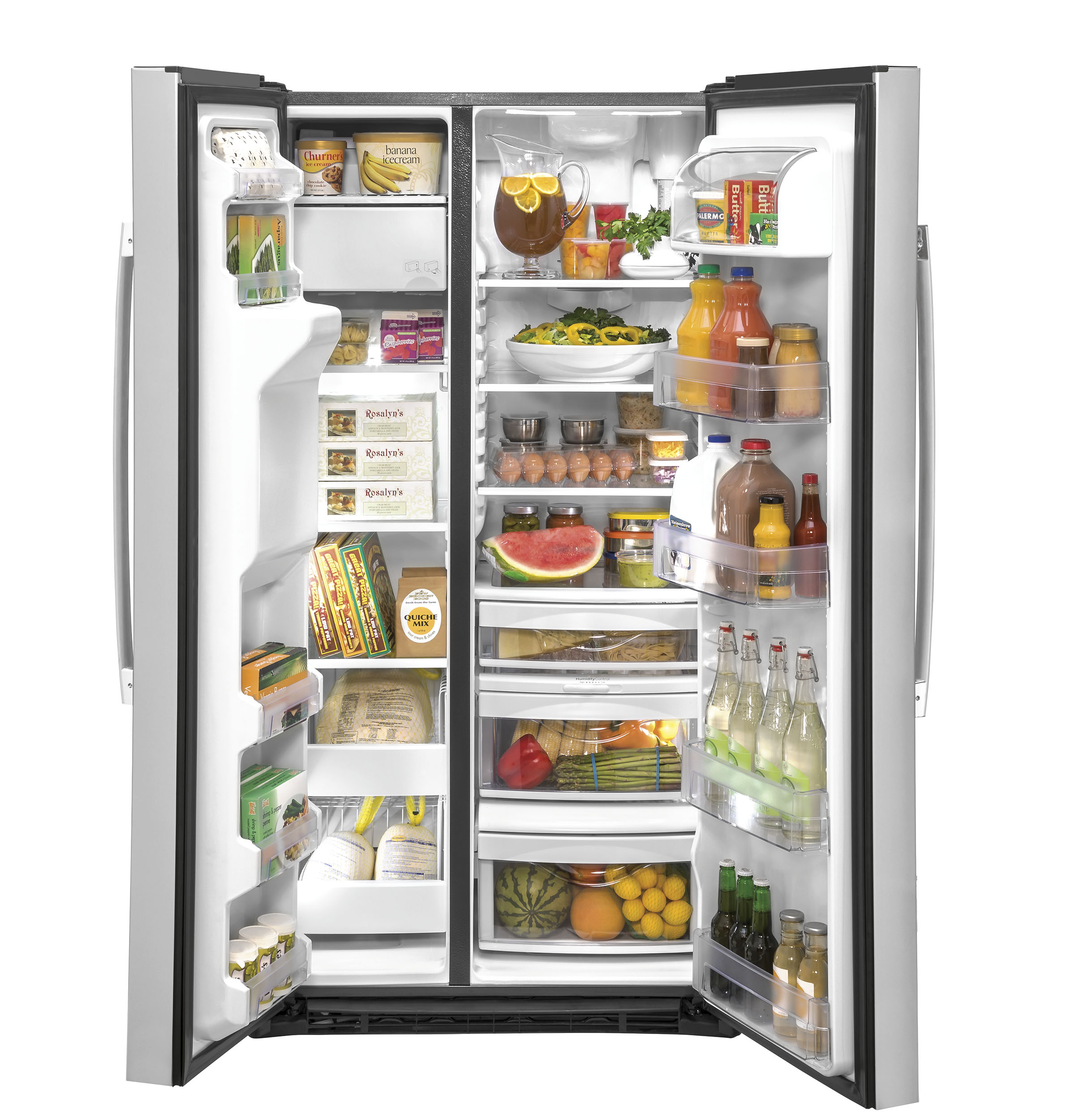 Model: GZS22IYNFS | GE GE® 21.8 Cu. Ft. Counter-Depth Fingerprint Resistant Side-By-Side Refrigerator