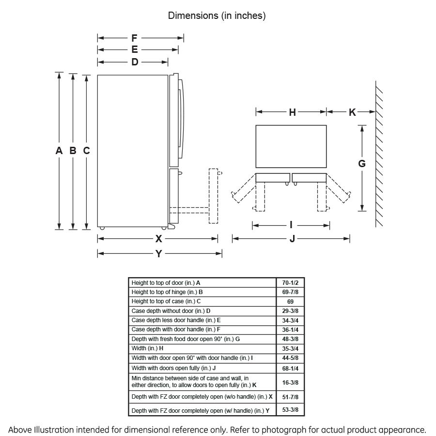 Model: GFS26GMNES   GE® 25.8 Cu. Ft. French-Door Refrigerator
