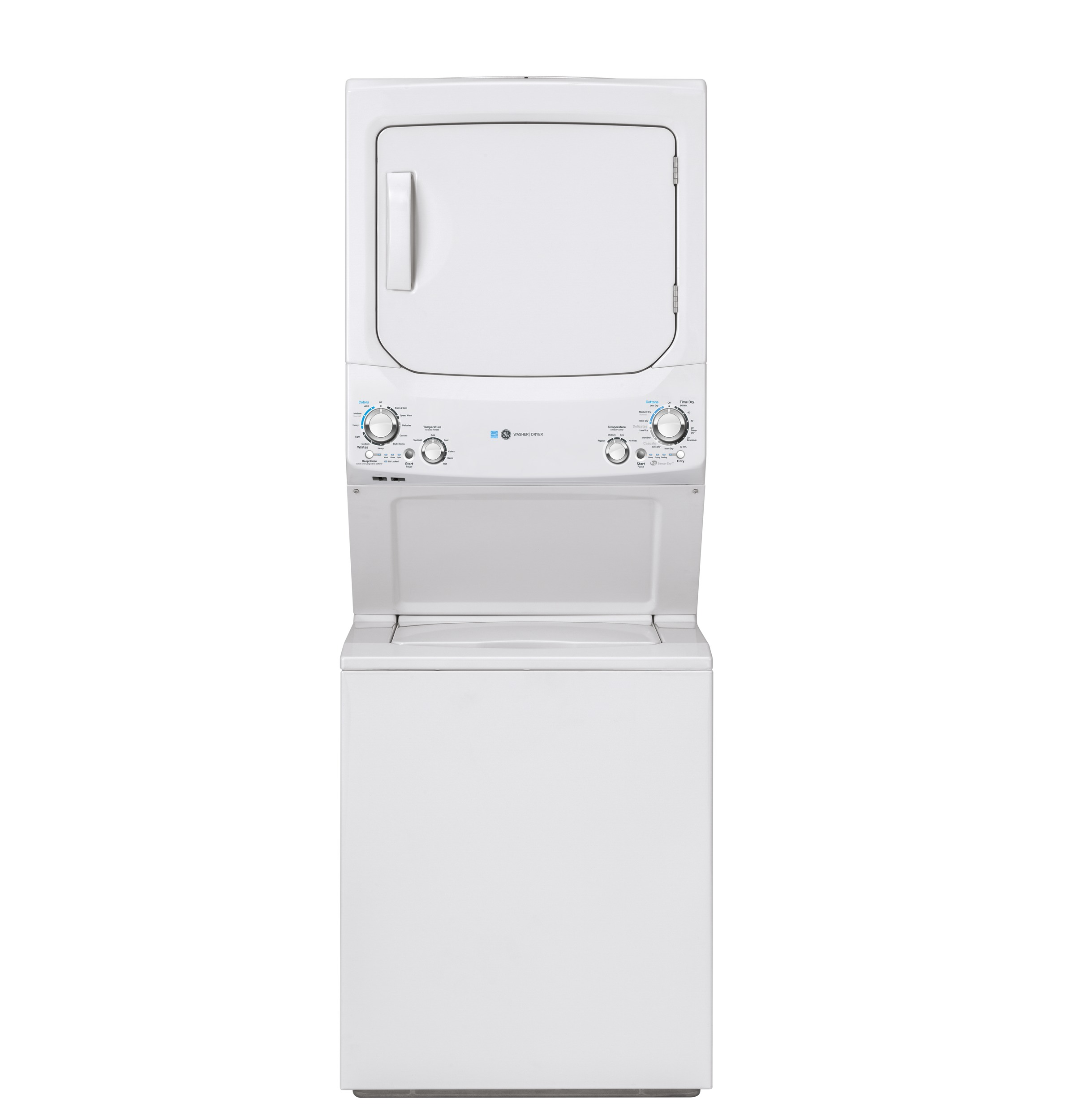 GE GE Unitized Spacemaker® 3.9 cu. ft. Capacity Washer with Stainless Steel Basket and 5.9 cu. ft. Capacity Gas Dryer