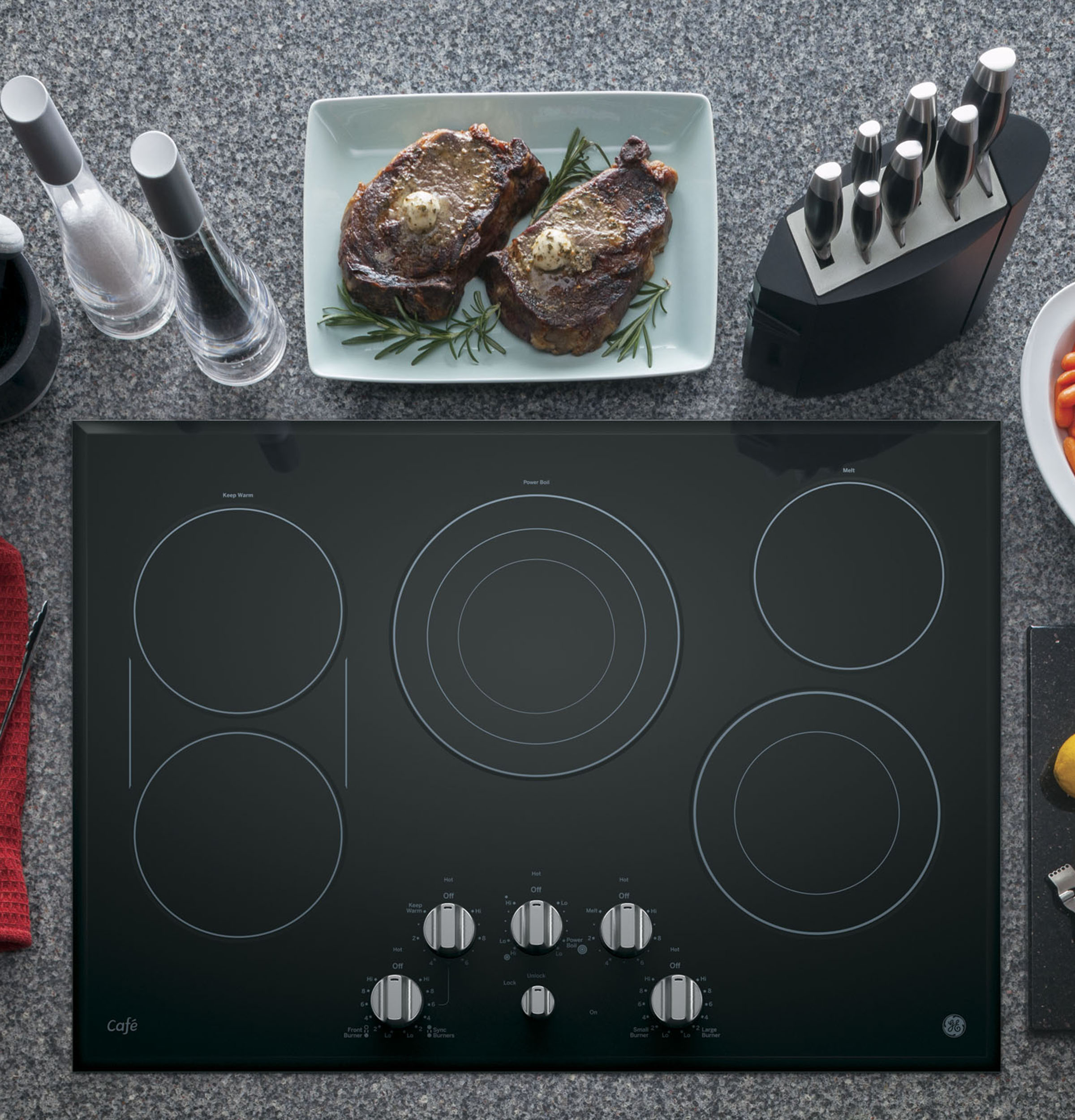 "Model: CP9530SJSS | GE Cafe GE Café™ Series 30"" Built-In Knob Control Electric Cooktop"