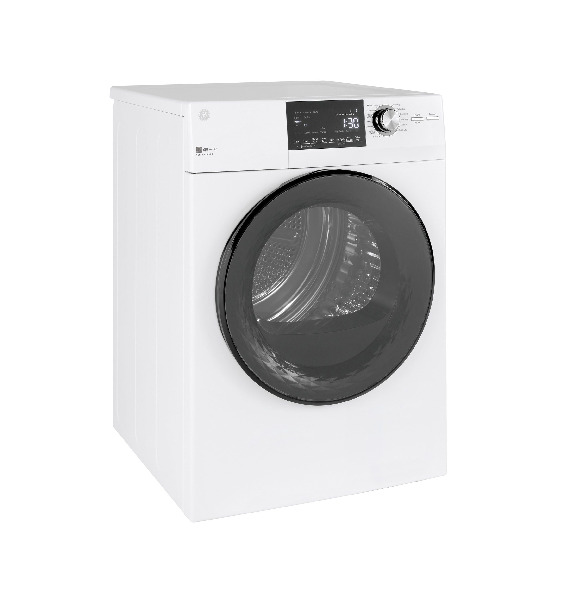 "Model: GFD14ESSNWW | GE GE®  24"" 4.3 Cu.Ft. Front Load Vented Electric Dryer with Stainless Steel Basket"