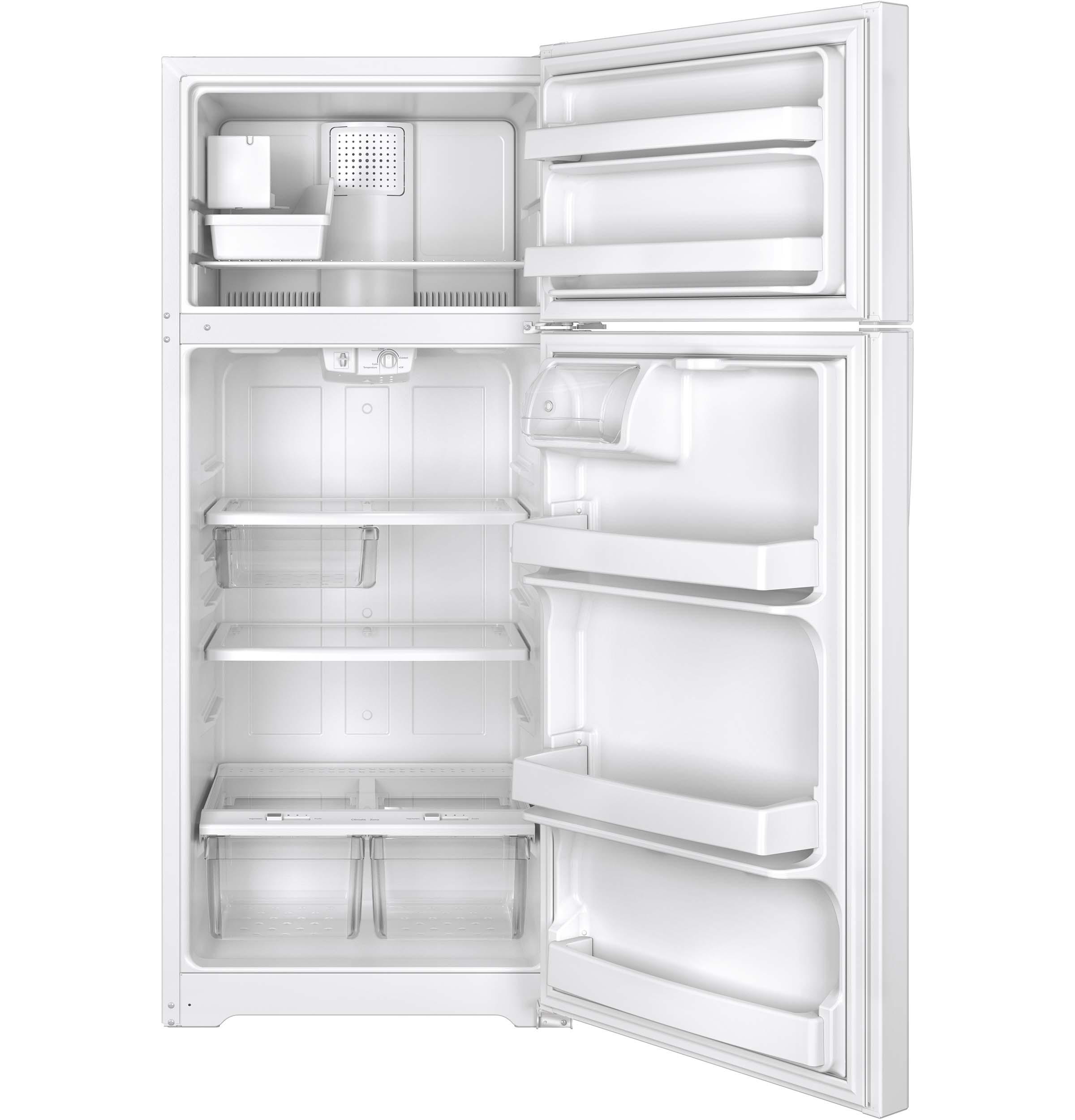 Model: GIE18GTHWW   GE GE® ENERGY STAR® 17.5 Cu. Ft. Top-Freezer Refrigerator