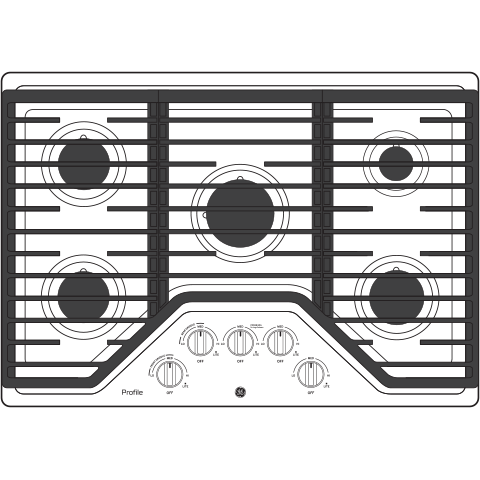 "Profile GE Profile™ 30"" Built-In Gas Cooktop with 5 Burners and Optional Extra-Large Cast Iron Griddle"