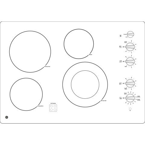 "Model: JP3530DJBB | GE GE® 30"" Built-In Knob Control Electric Cooktop"