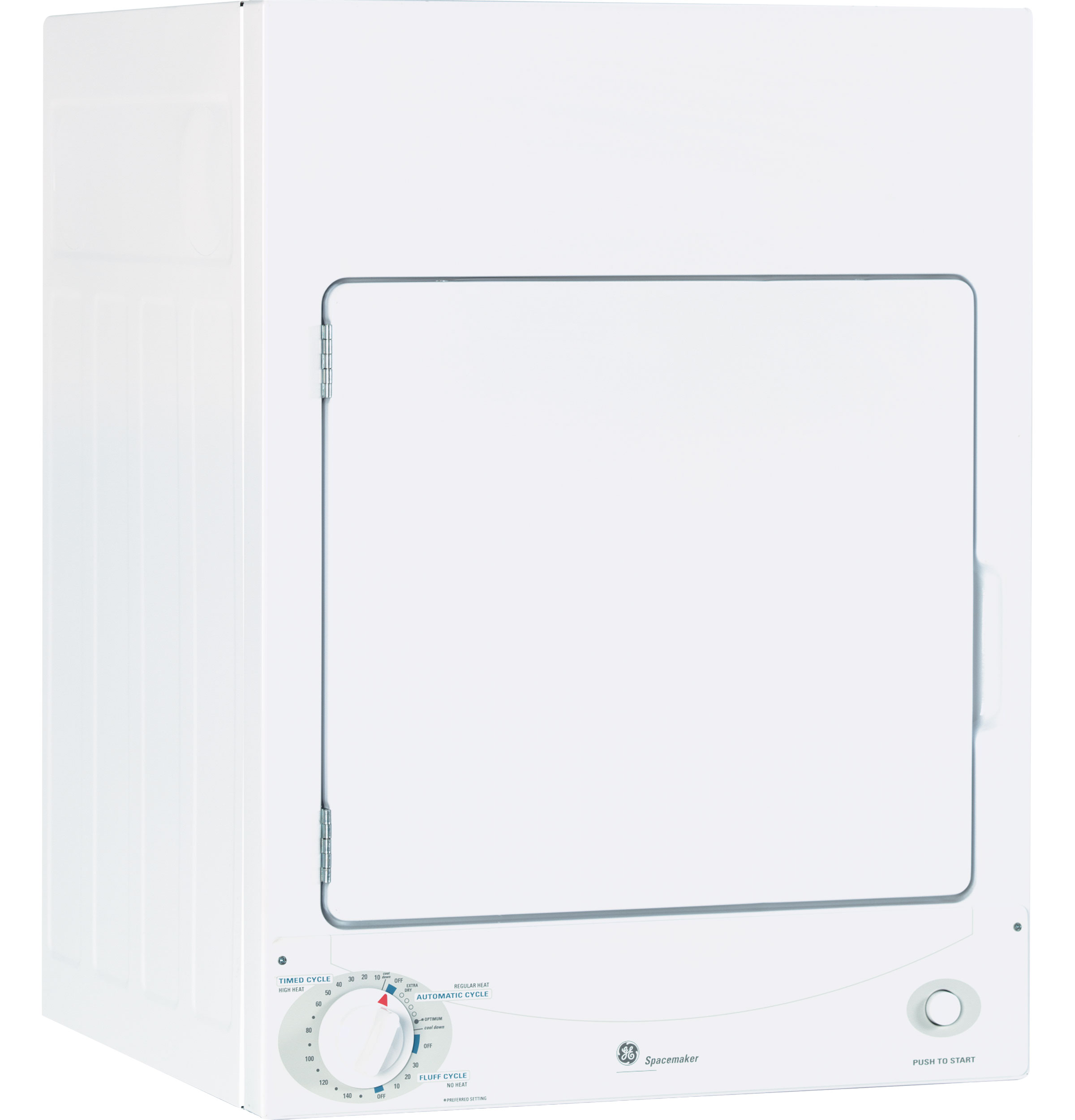 Model: DSKS333ECWW | GE GE Spacemaker® 120V 3.6 cu. ft. Capacity Stationary Electric Dryer