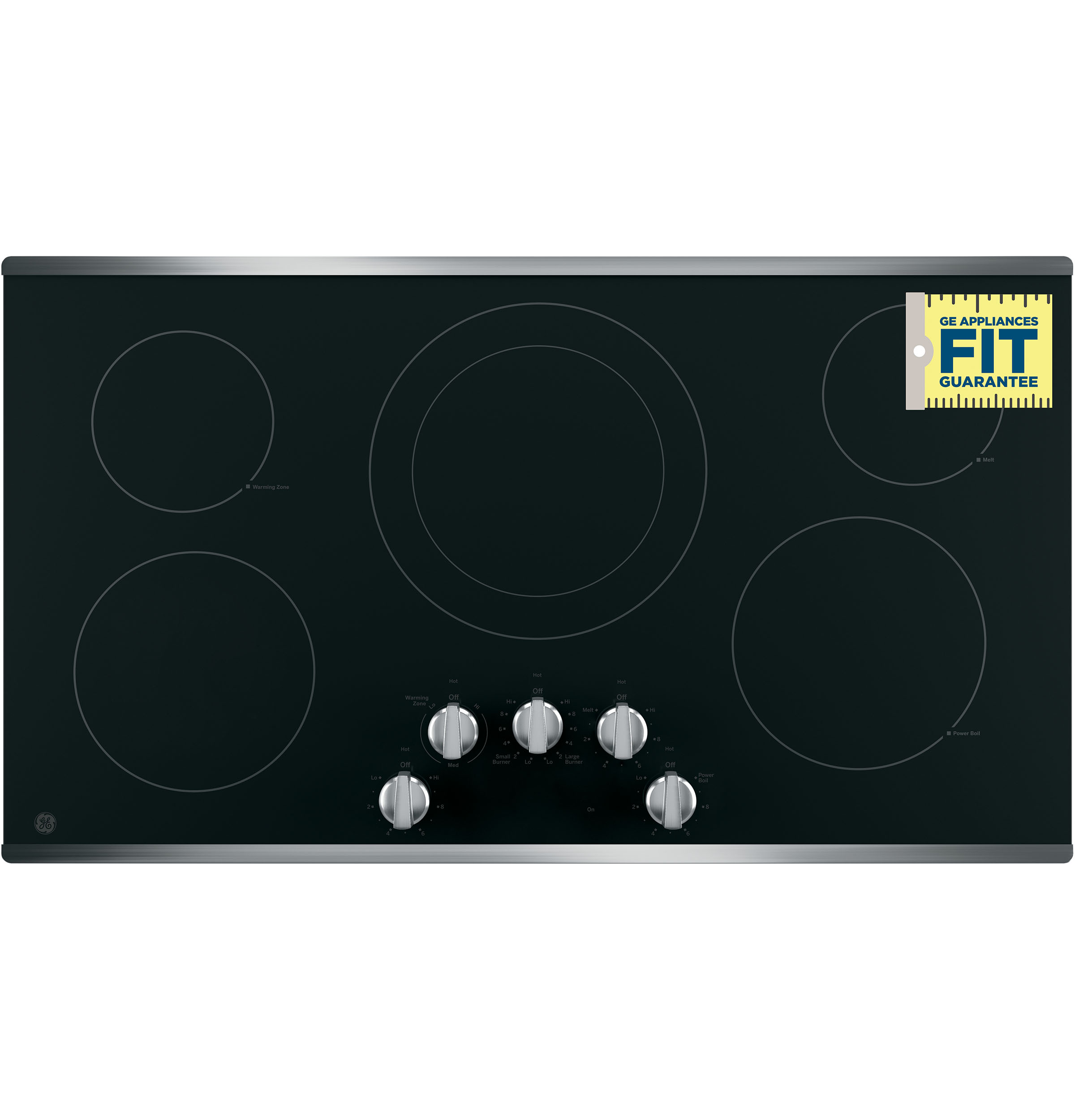 "Model: JP3036SLSS | GE GE® 36"" Built-In Knob Control Electric Cooktop"