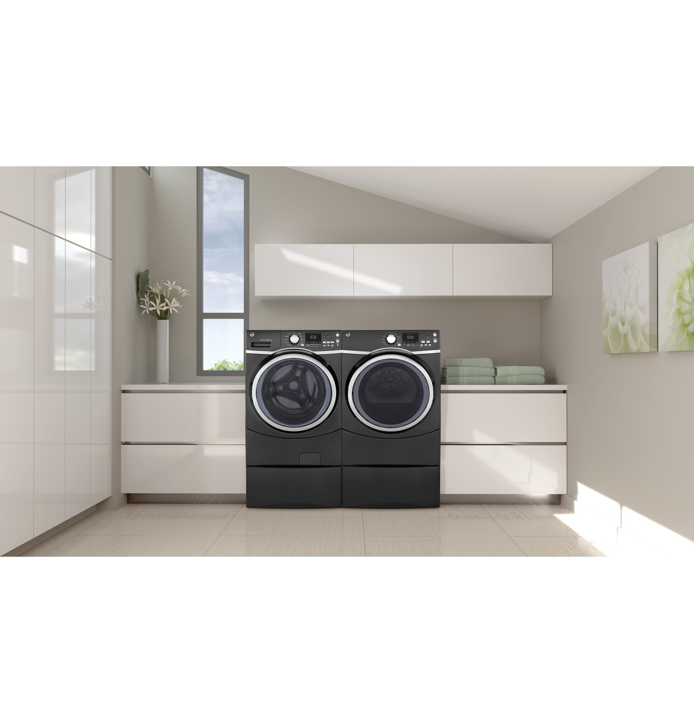 Model: GFW450SPMDG | GE® 4.5 cu. ft. Capacity Front Load ENERGY STAR® Washer with Steam