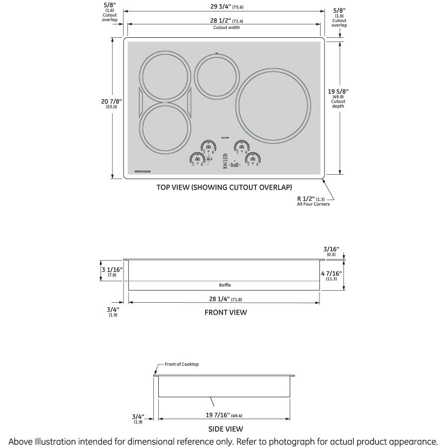 "Model: ZHU30RDJBB | Monogram Monogram 30"" Induction Cooktop"